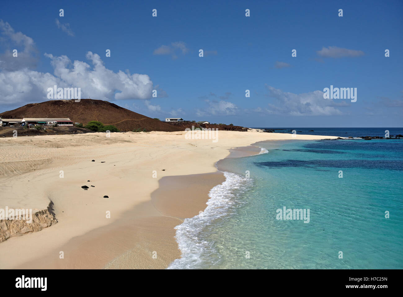 Beach looking West from the Pierhead in Georgetown on Ascension Island - Stock Image