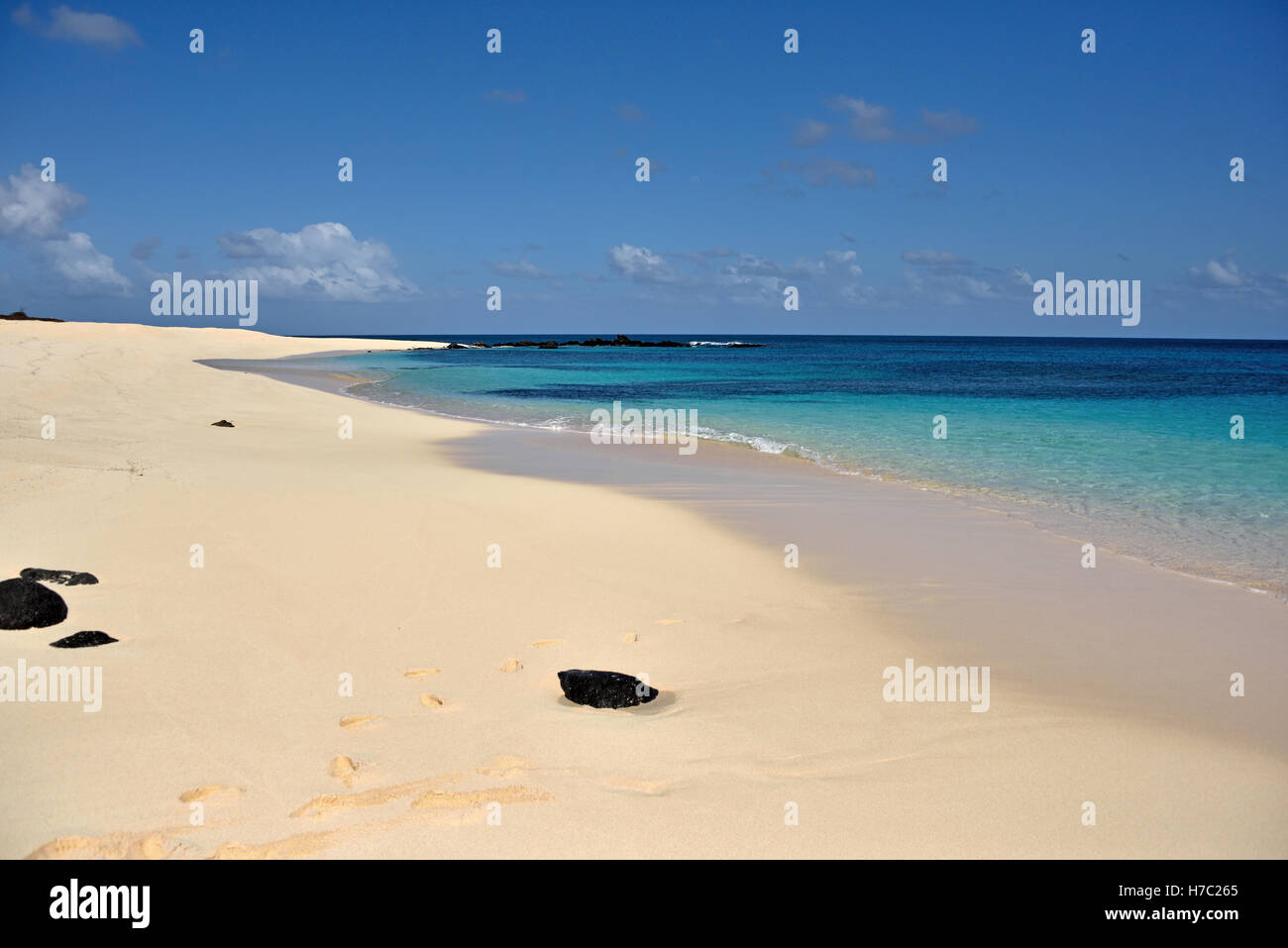 The Beach looking West from the Pierhead in Georgetown Ascension Island - Stock Image