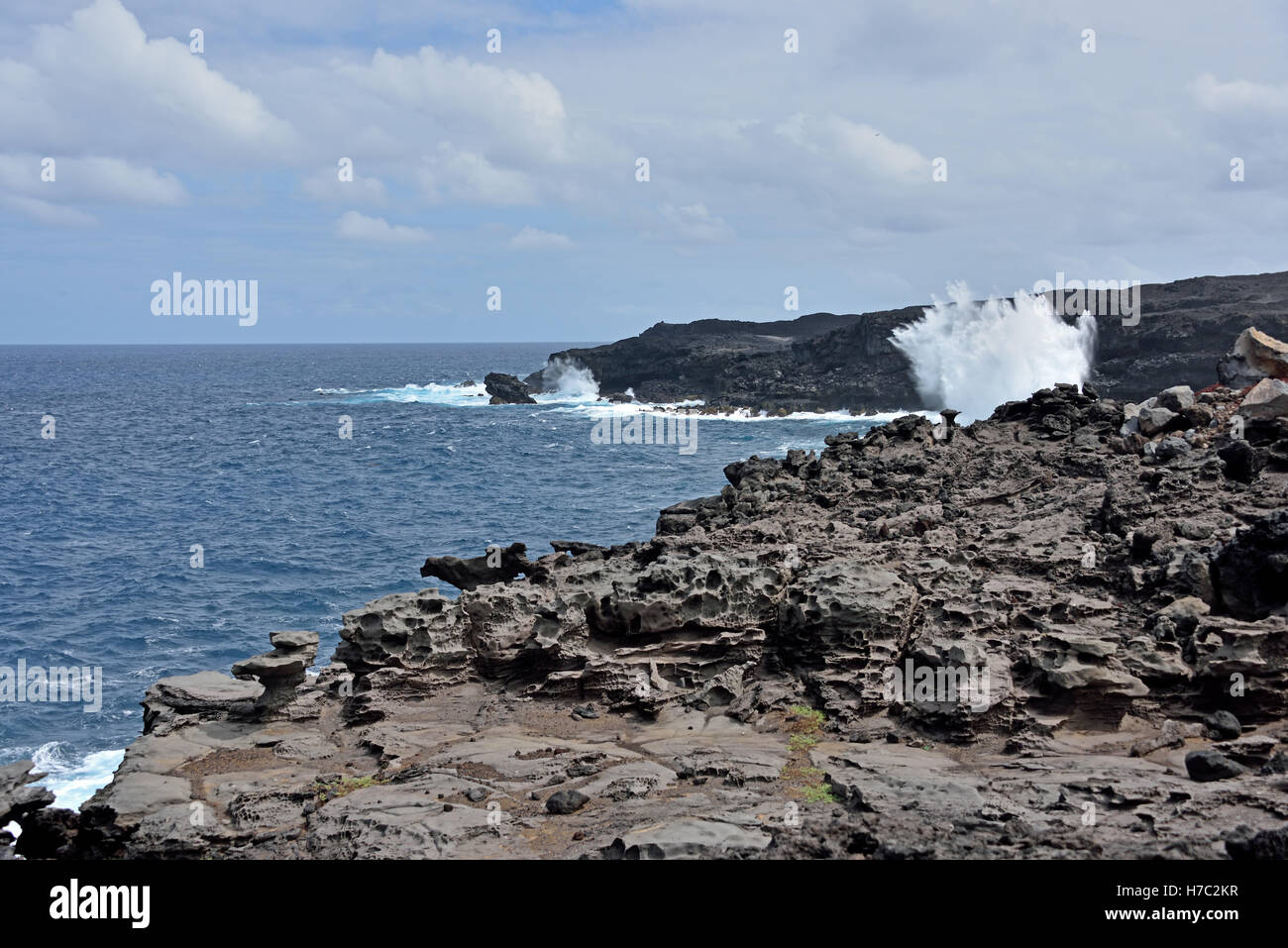 Hummock Point where the sea can be very forceful on the North East coast of Ascension Island - Stock Image