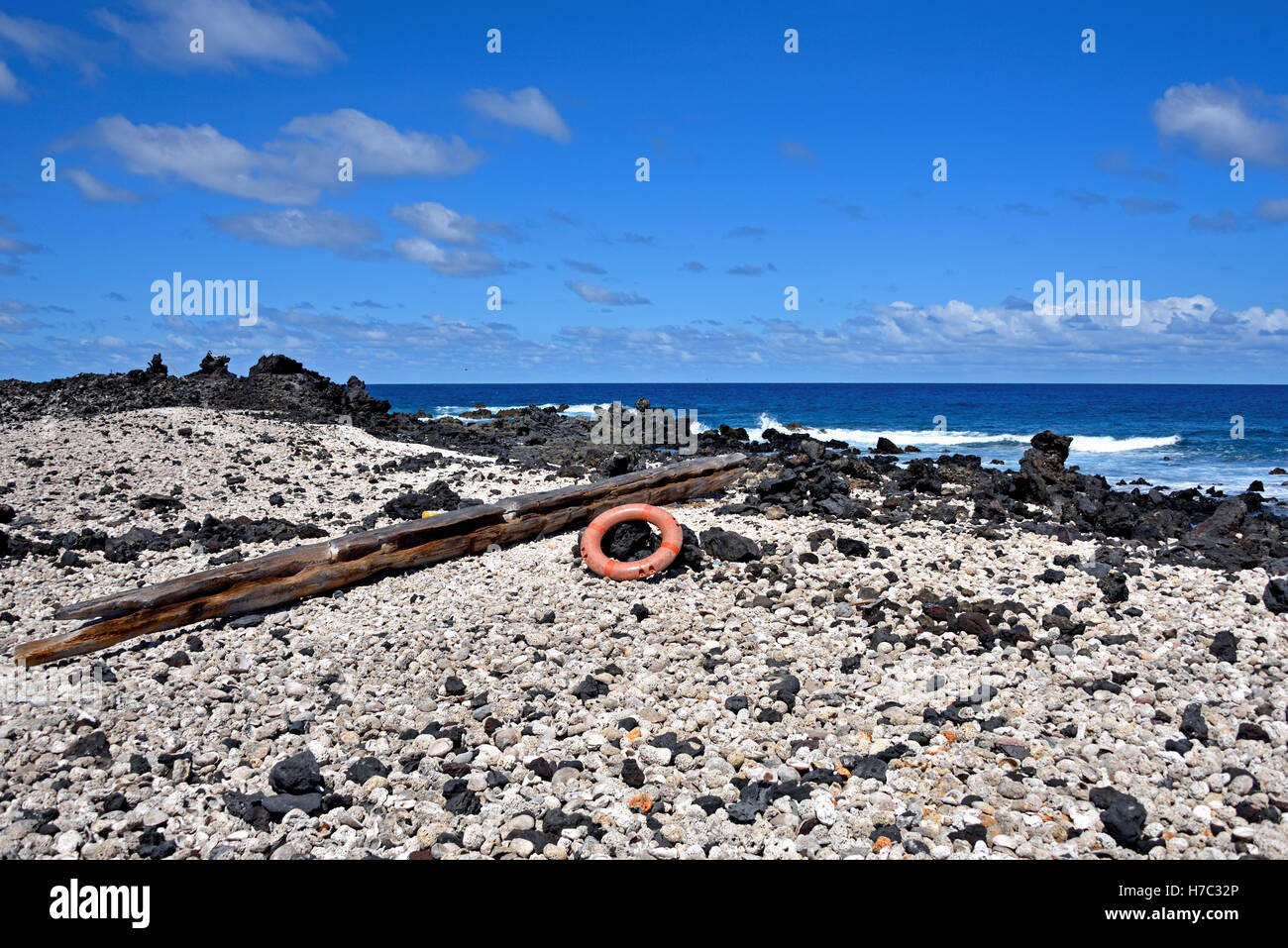 Flotsam on Shelley Beach looking towards South Point on Aswcension Island - Stock Image
