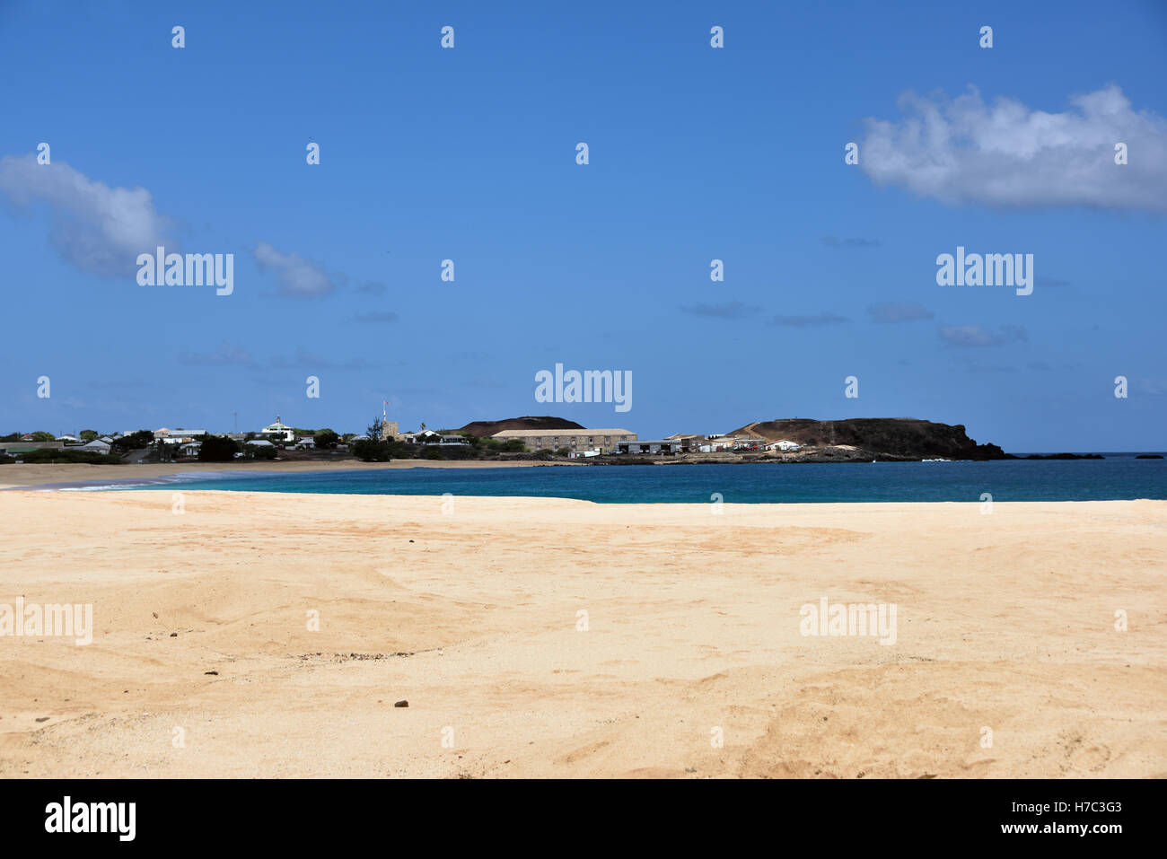 Georgetown taken from Long Beach on Ascension Island - Stock Image
