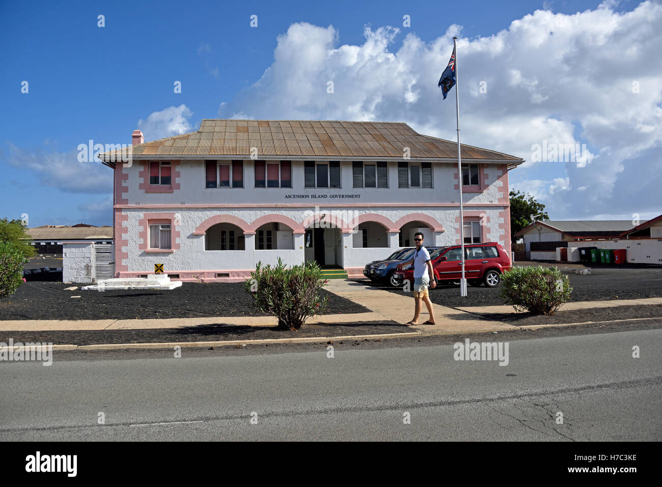 Ascension Island Government building in Georgetown - Stock Image