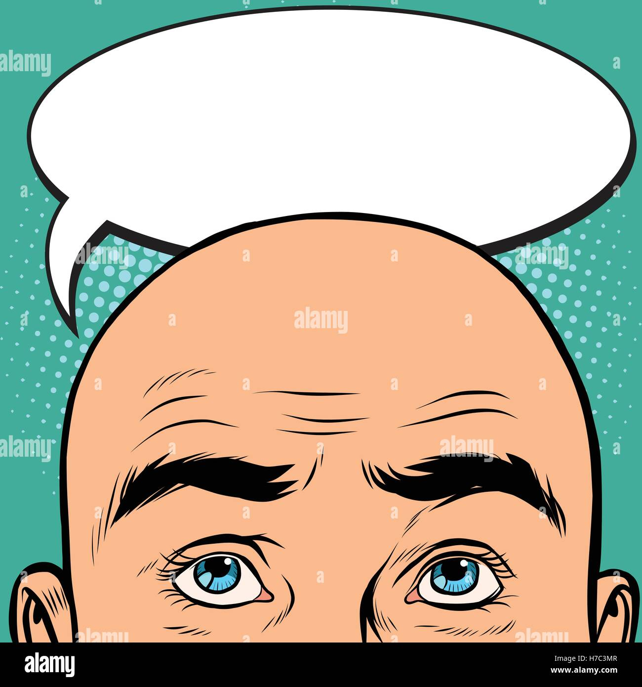 Thoughts men bald head - Stock Vector