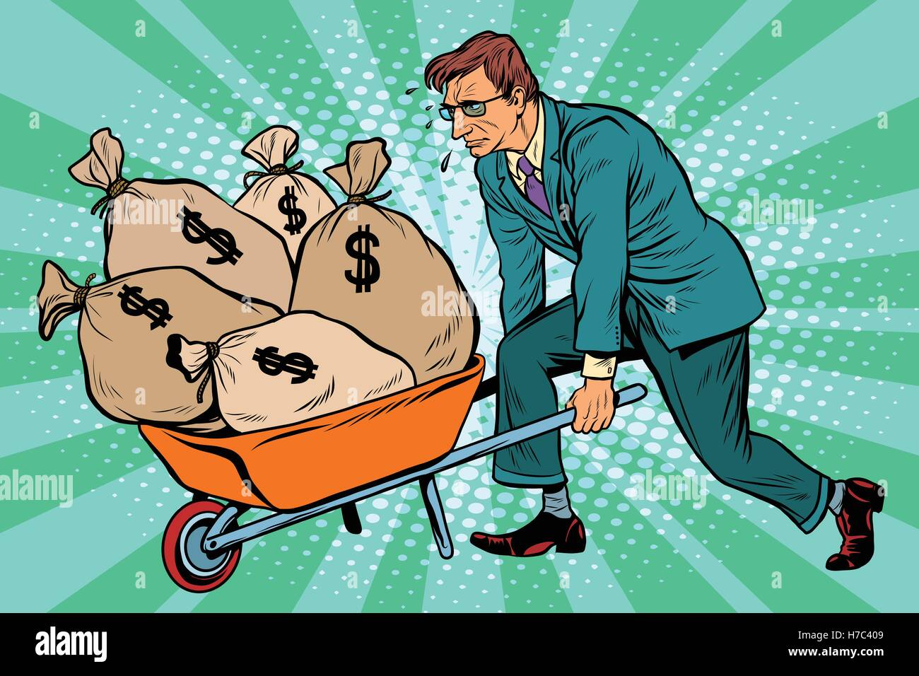 Businessman wheel heavy garden cart with money - Stock Vector
