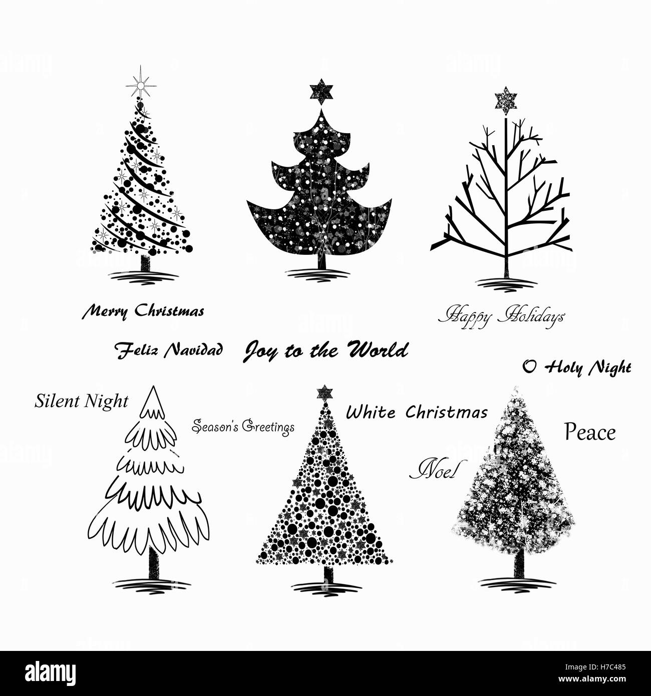 Hand Drawn Christmas Trees On White Background With Popular Holiday Quotes  Written Across The Illustration.
