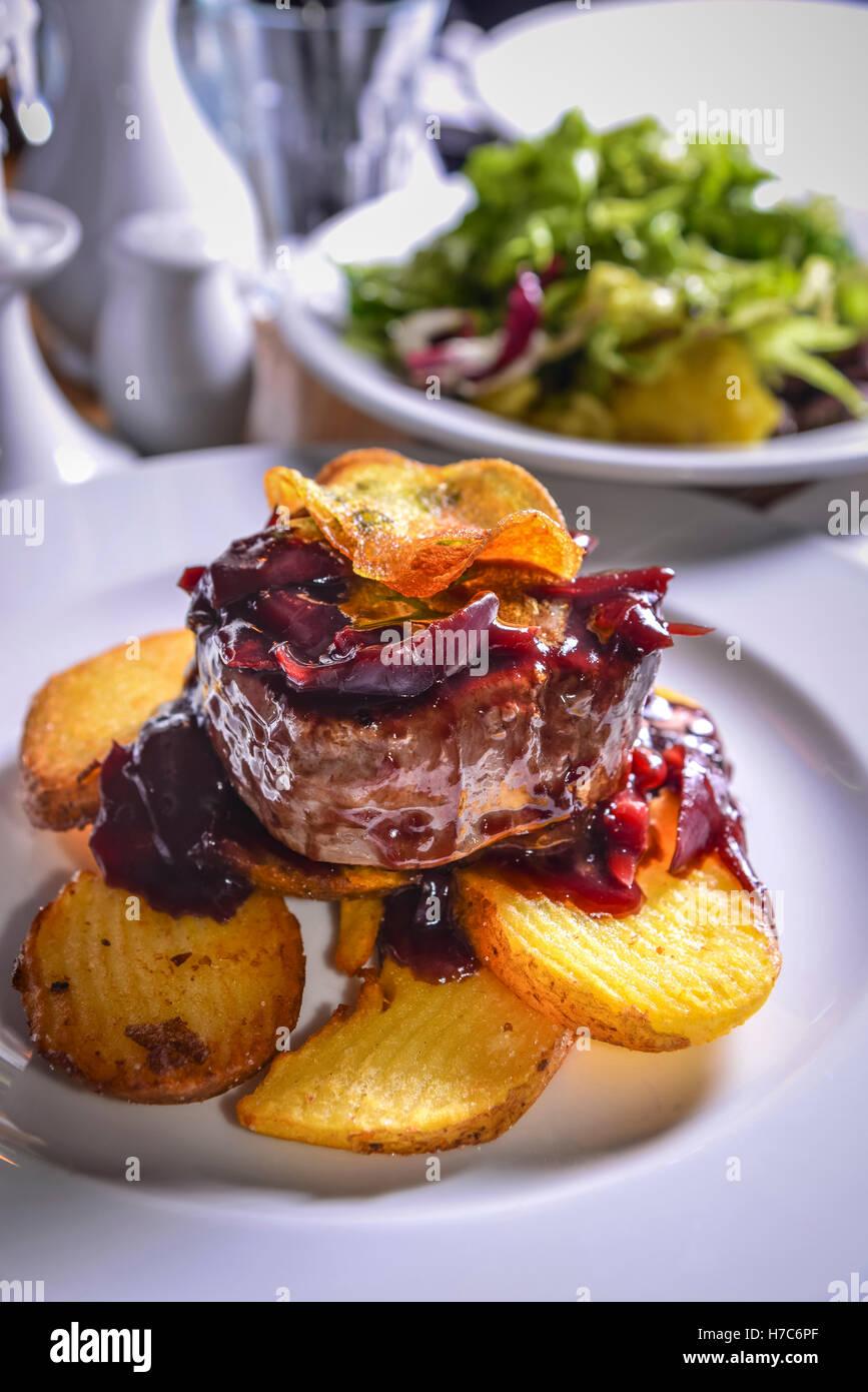 Potato Side Dish, Graz, Austria - Stock Image
