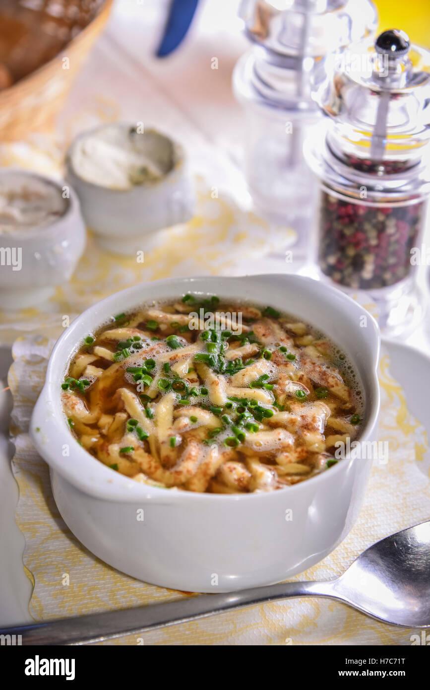 Frittata Soup, Innsbruck, Austria - Stock Image