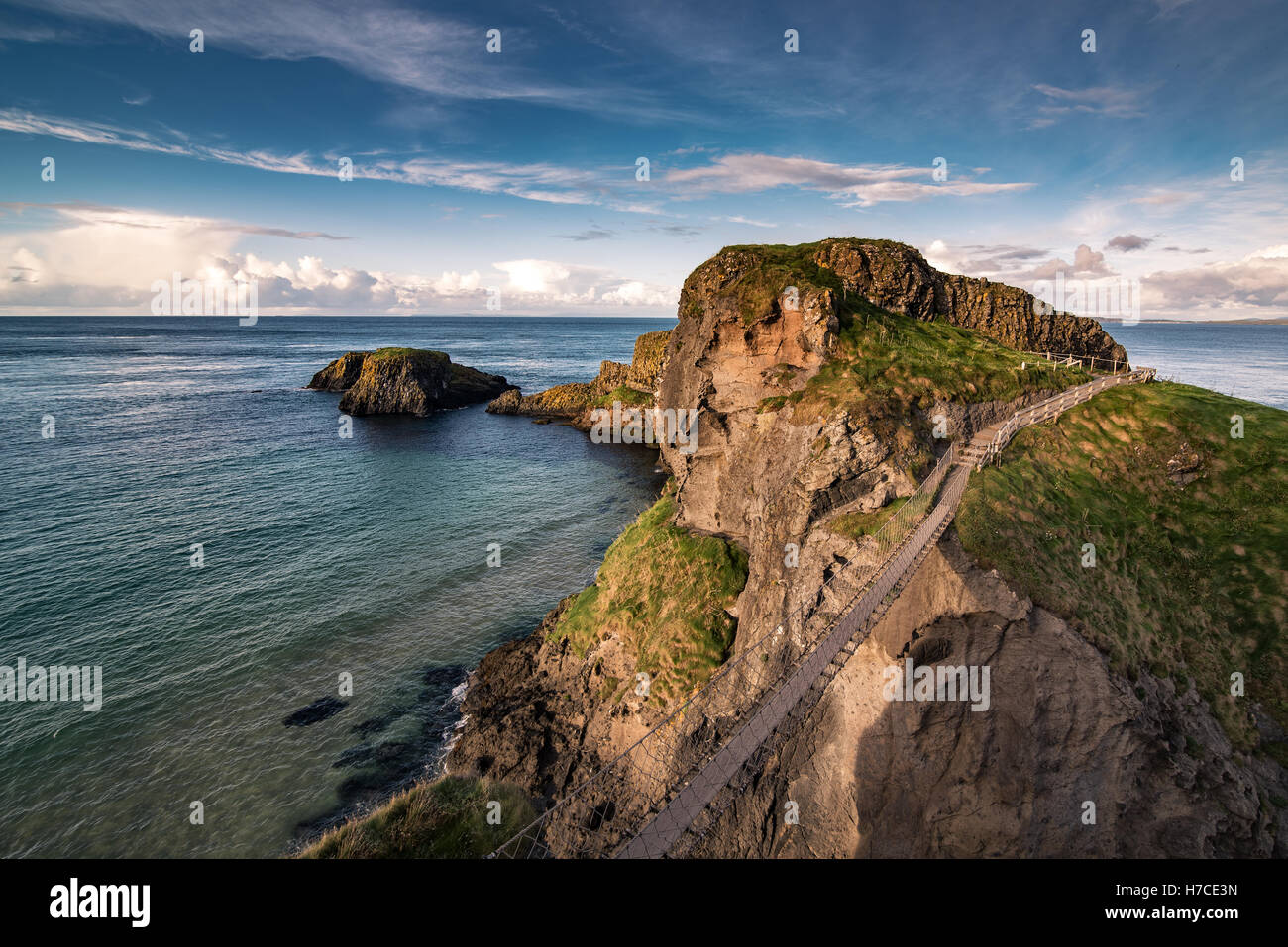 Carrick-a-rede  rope bridge, Famous place in Northern Ireland. - Stock Image