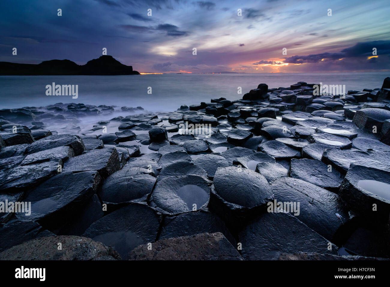 Giant's Causeway, Co. Antrim, Northern Ireland. Sunset - Stock Image