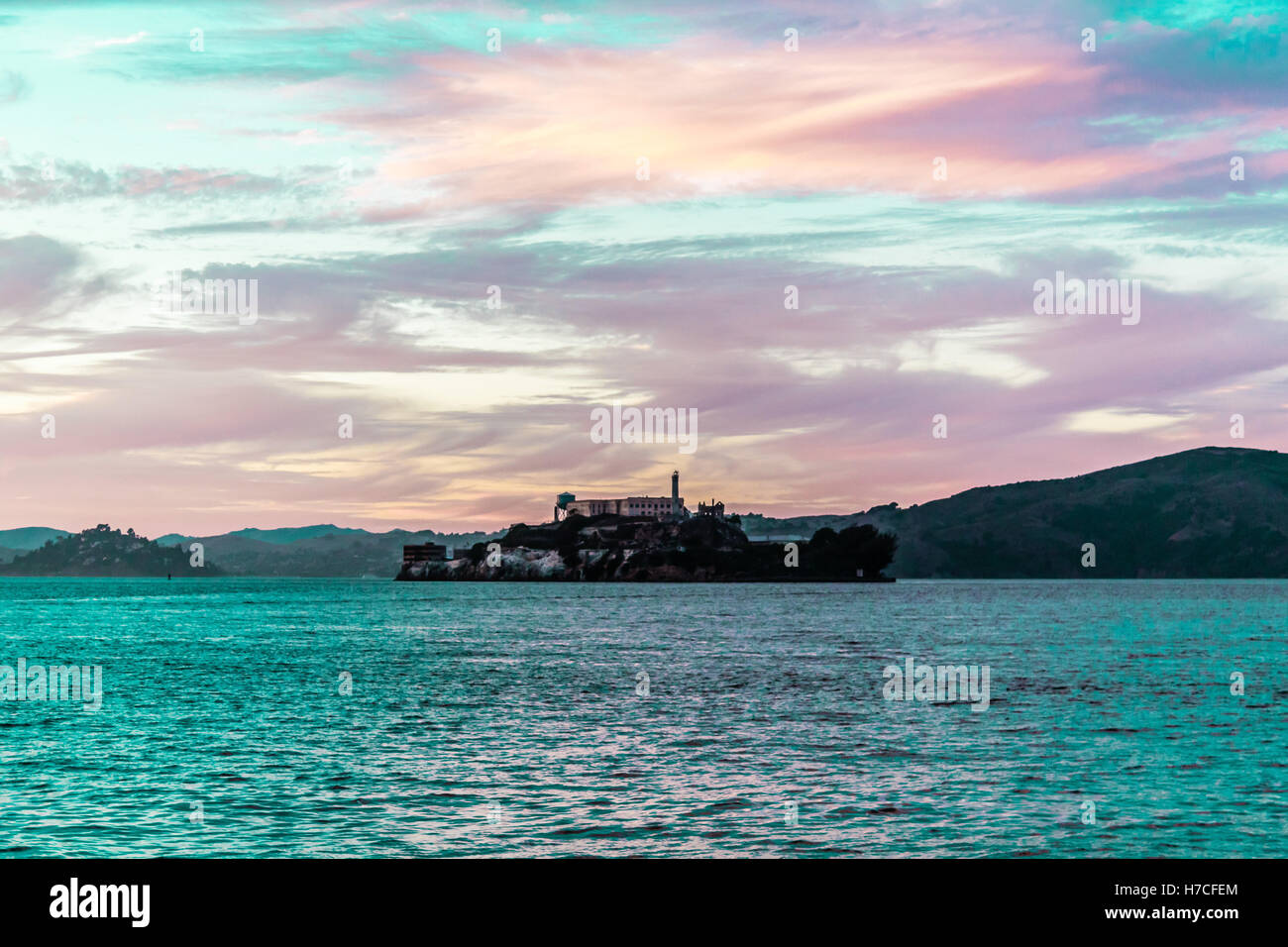 Photo of Colorful Sunset at Alcatraz Prison in San Francisco, California - Stock Image
