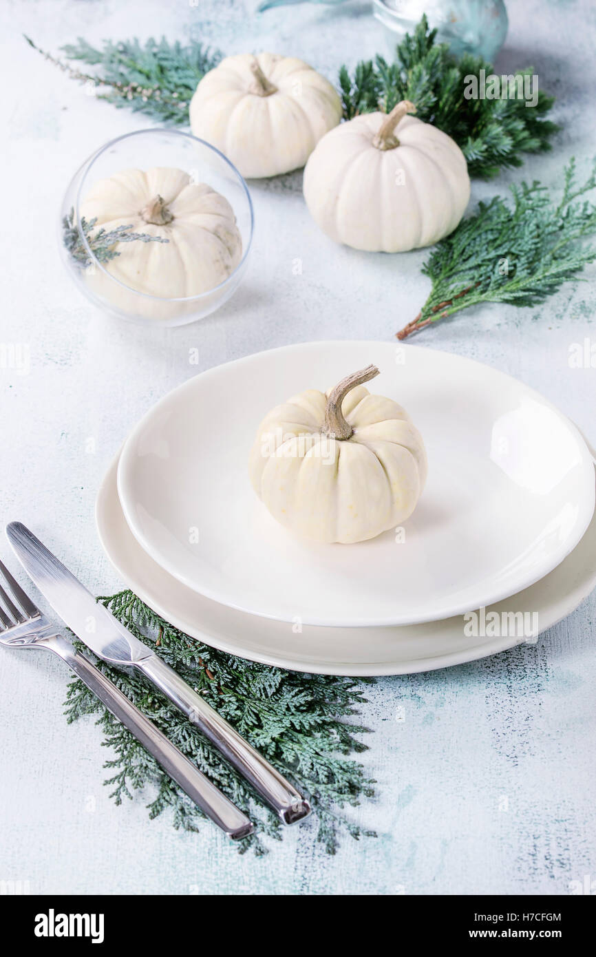 Holiday table setting decoration with white decorative pumpkins, thuja branches and dinner plates over white wooden - Stock Image