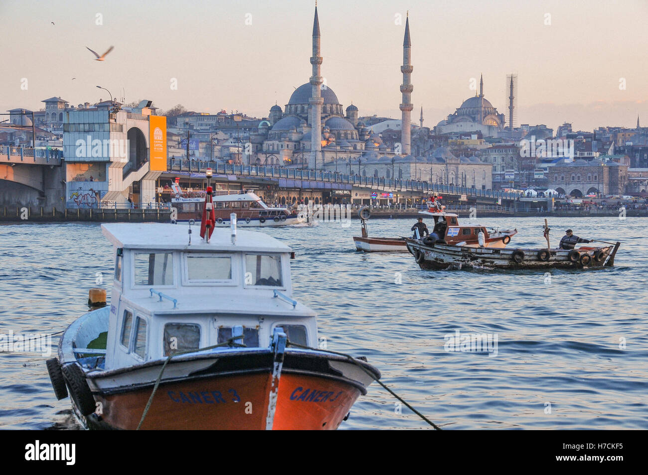 View of the Golden Horn. Part of Galata Bridge, and the New Mosque (Yeni Cami, in the middle of the image) can be - Stock Image