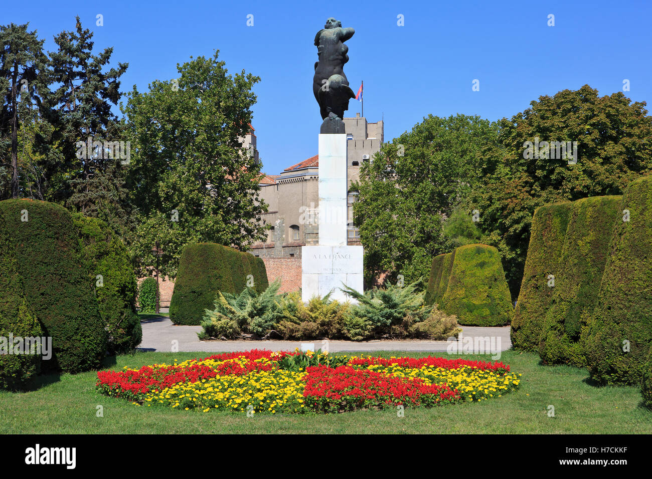 World War I monument of Gratitude to France (erected in 1930) at the Kalemegdan Fortress in Belgrade, Serbia - Stock Image