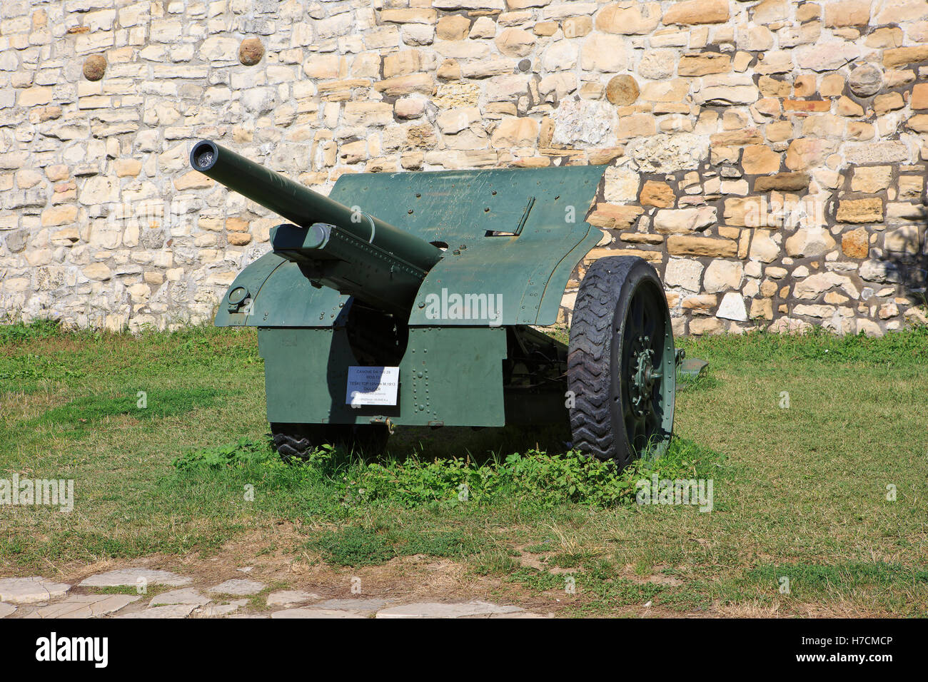 The French World War I Canon de 105 mle 1913 Schneider at the Military Museum in Belgrade, Serbia - Stock Image