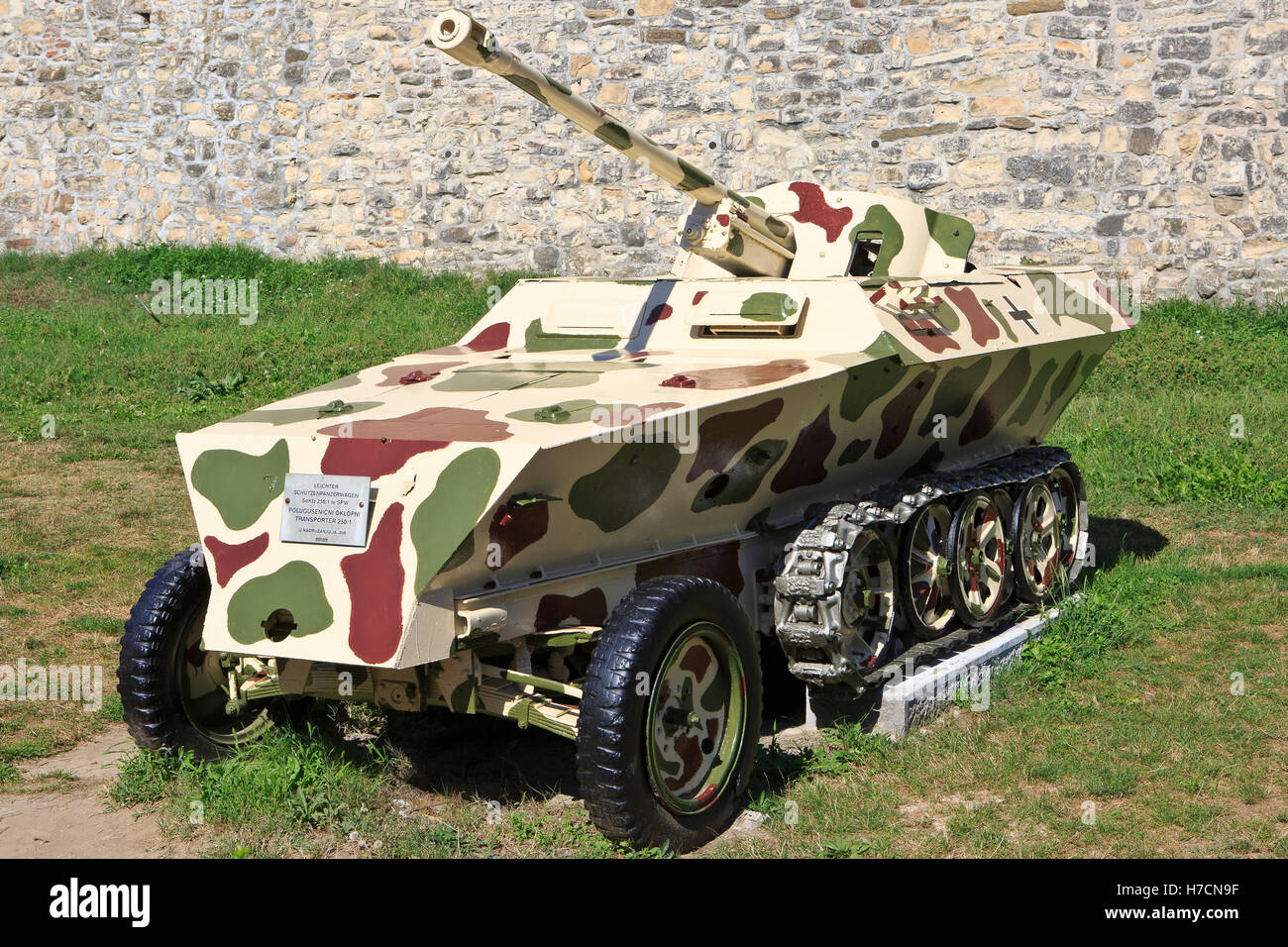 The German half-track armored personnel carrier Sd.Kfz. 250 (in service 1941-1945) at the Military Museum in Belgrade, - Stock Image