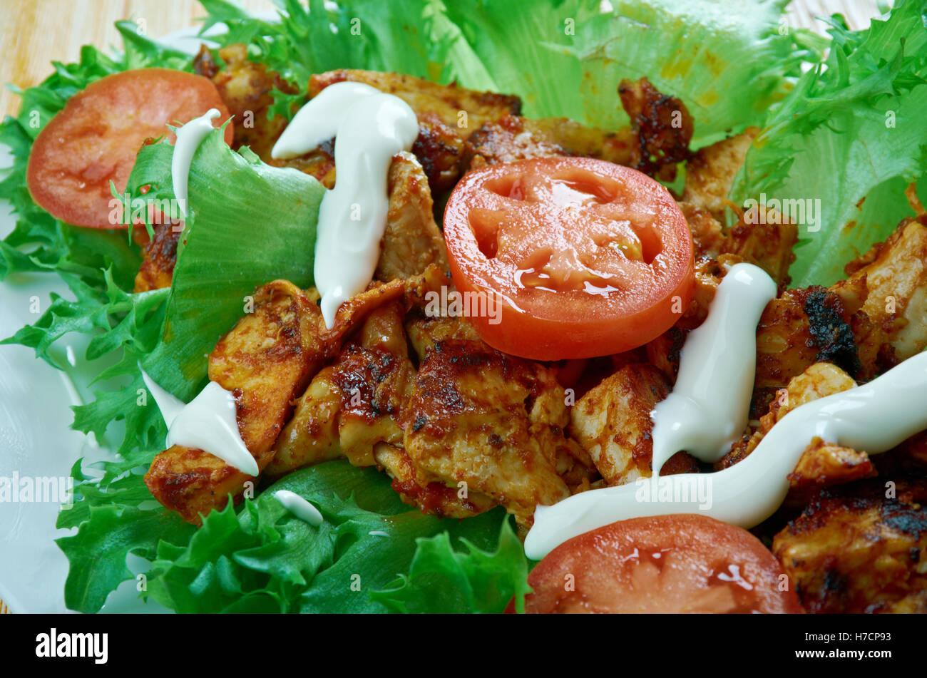 Jamaican Jerk Chicken Lettuce Wraps Caribbean Food Stock Photo Alamy