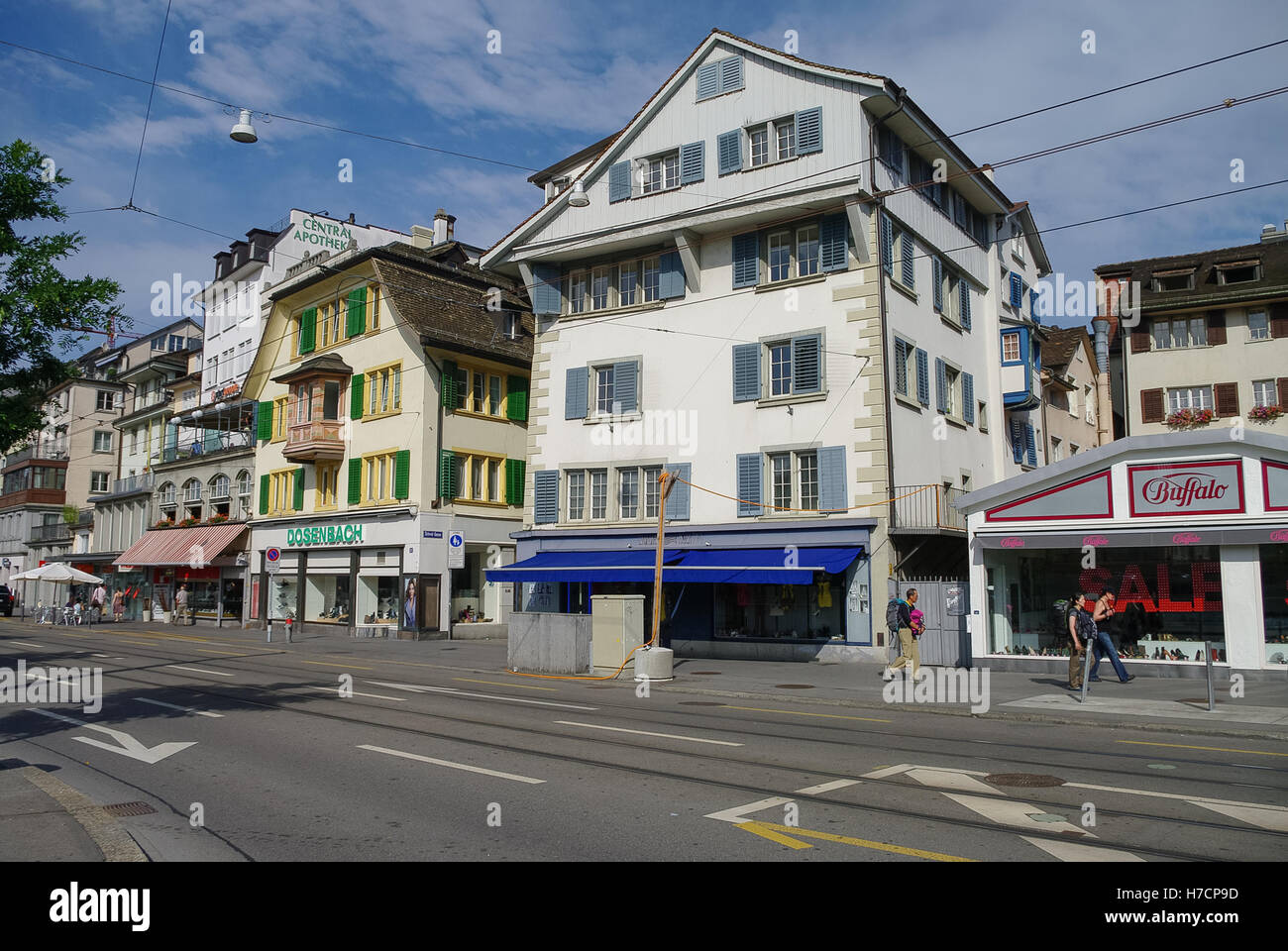 Zurich, Switzerland - August 22, 2010: Traditional buildings on the Limmatquai quay in historic part of city. - Stock Image