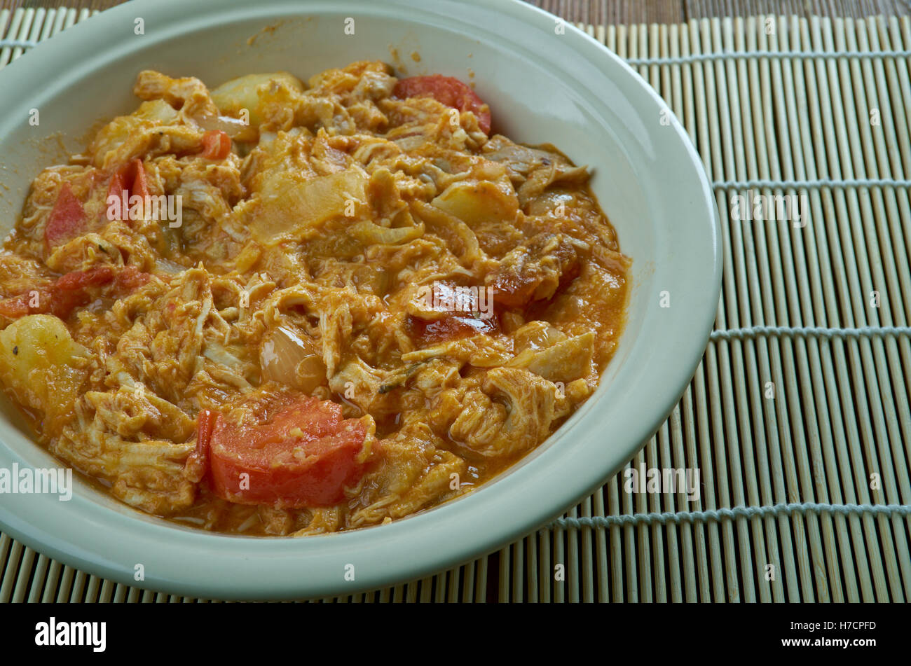 Afrikanischer Huhnertopf.South African stew with Chicken and vegetables with apricot - Stock Image