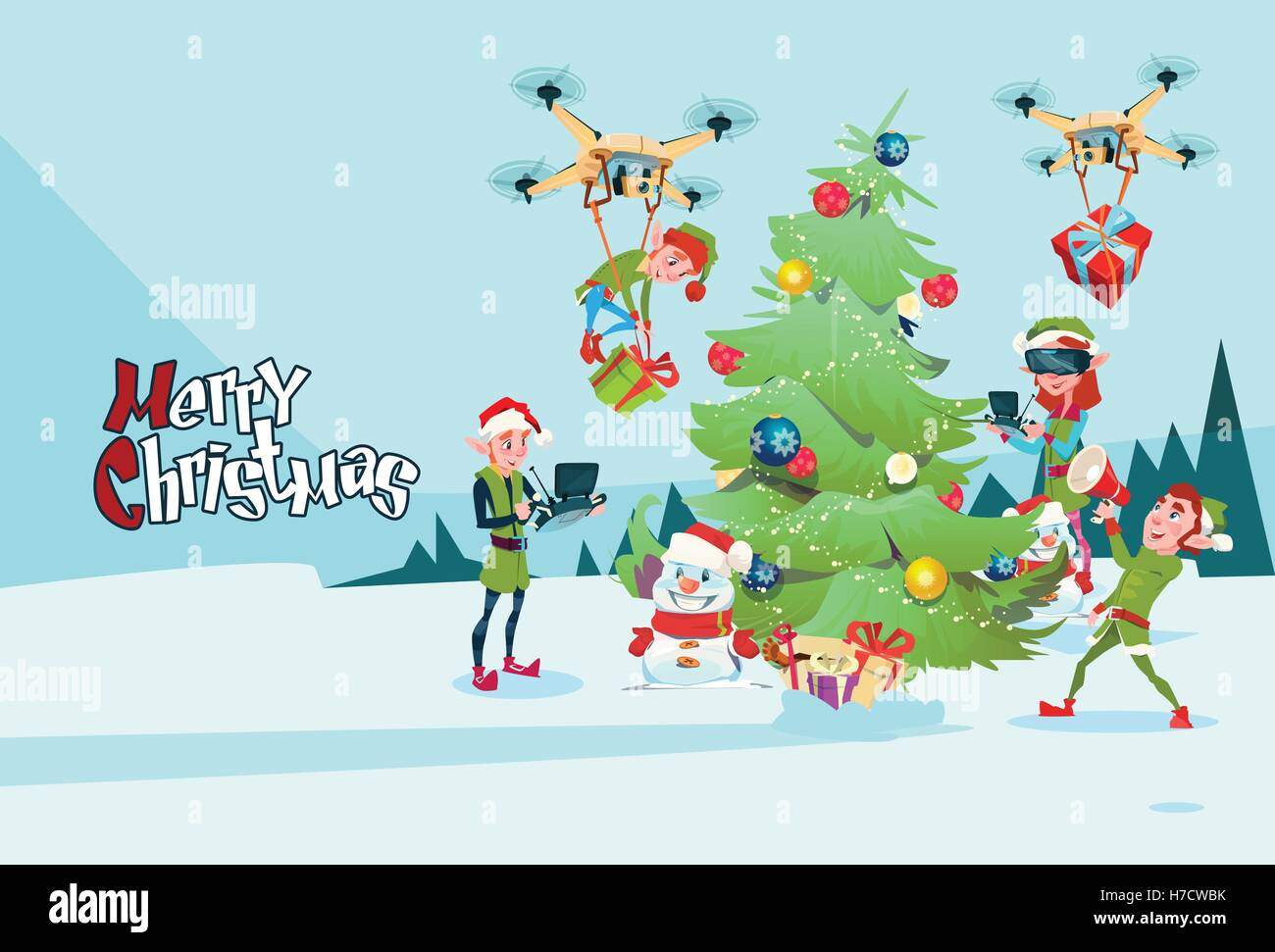 Green Elf Group Decoration Christmas Tree With Drone Wear ...