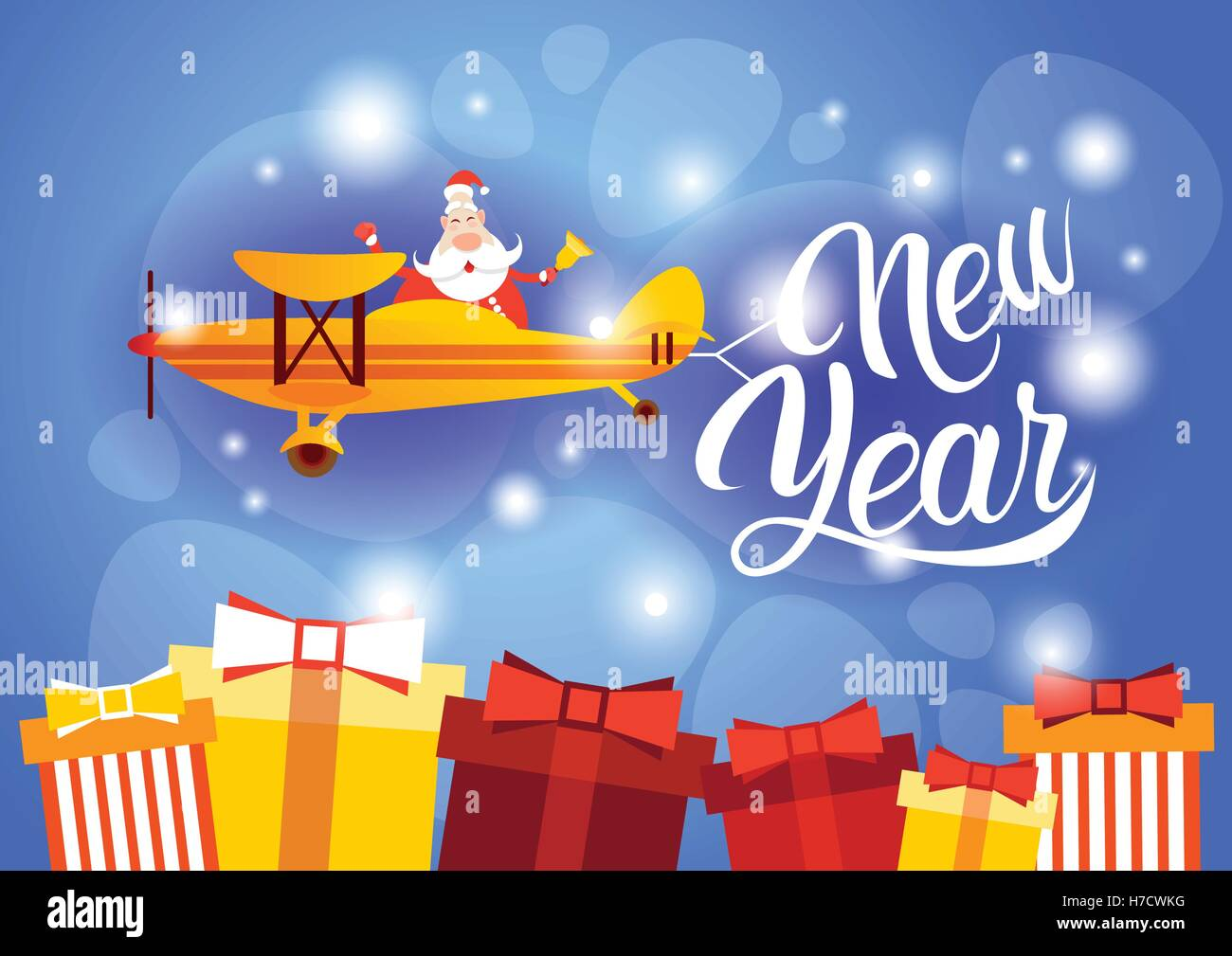 santa clause flying airplane happy new year decoration greeting card
