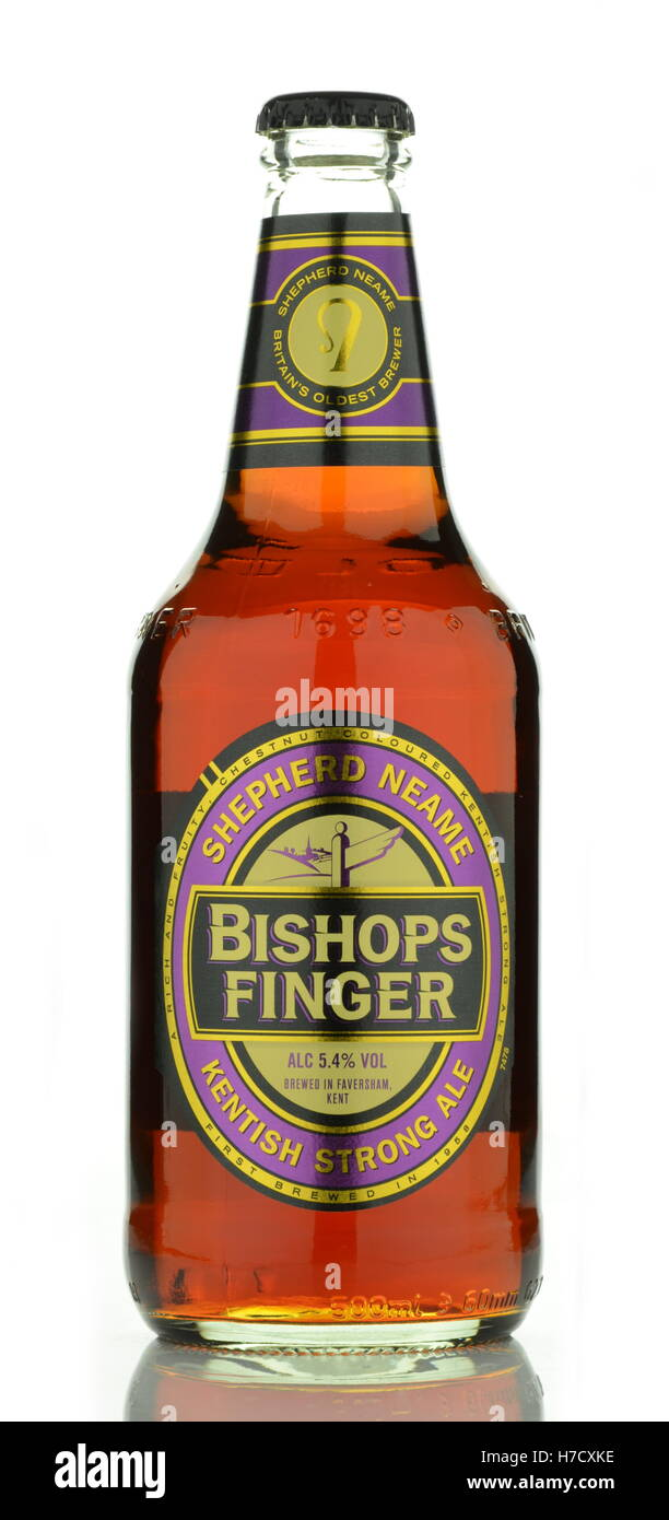 Bishops Finger beer isolated on white background. It is brewed in Shepherd Neame which is English independent regional - Stock Image
