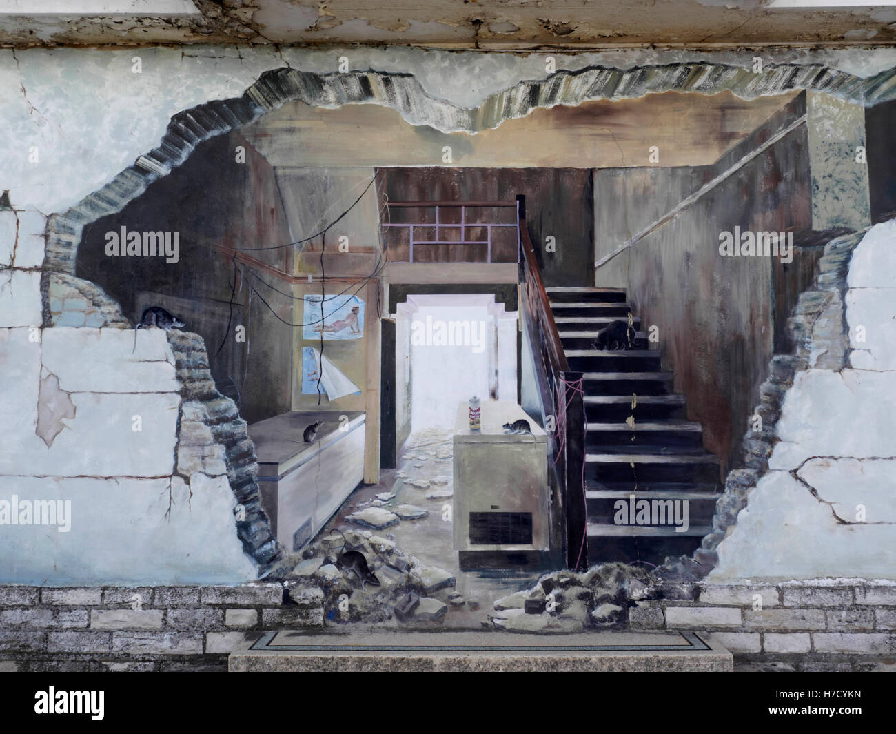 street art on wall of condemned building producing a. Black Bedroom Furniture Sets. Home Design Ideas