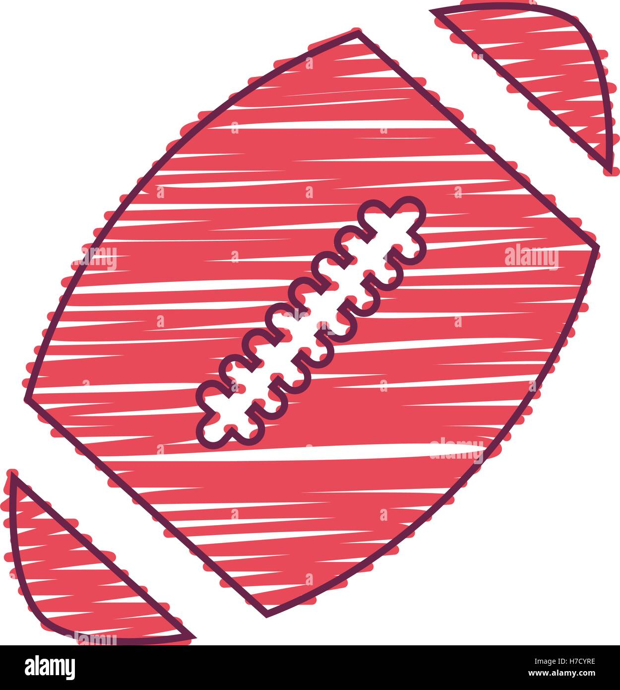 066771d095339e american football ball sport equipment icon over white background. draw and  sketch design. vector illustration