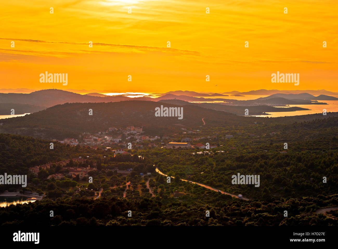 Island of Murter and Adriatic archipelago yellow sunset aerial view, Dalmatia, Croatia - Stock Image