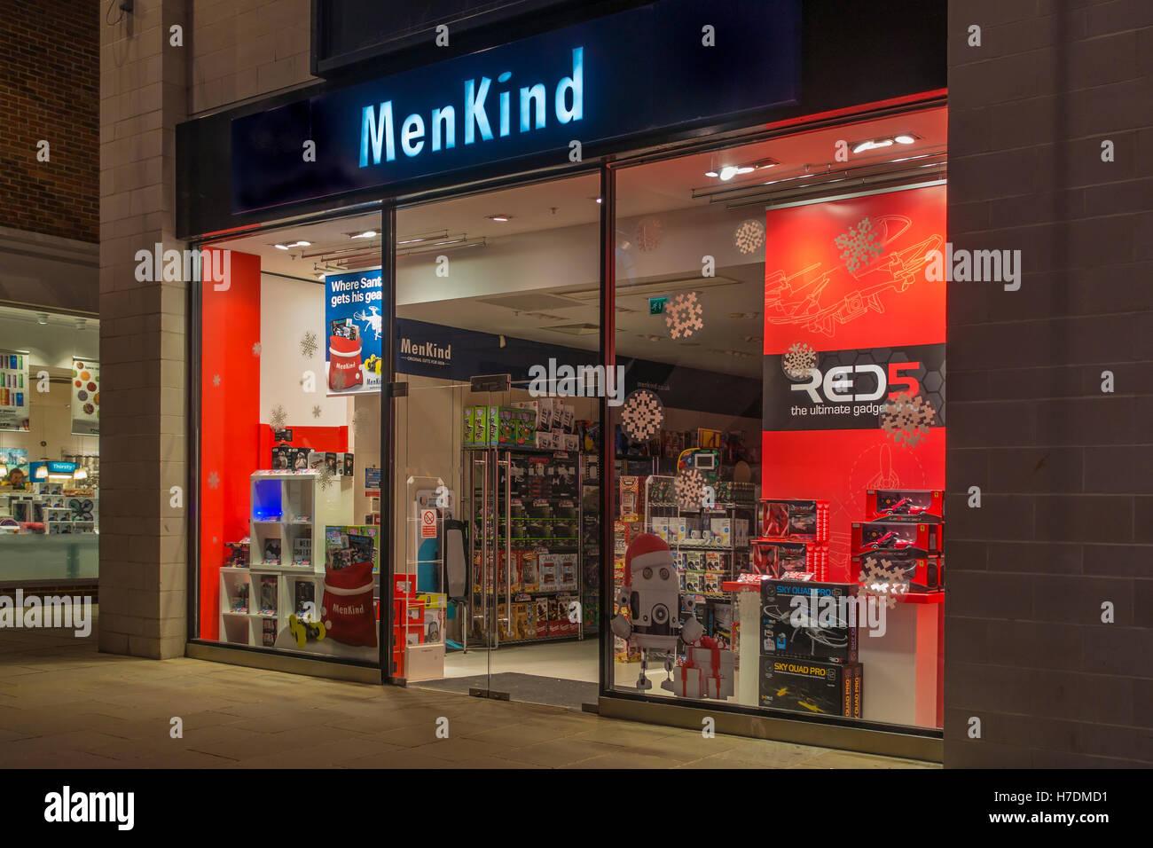 MenKind Gadget Store Whitefriars Shopping Centre Canterbury Kent UK Night Time - Stock Image