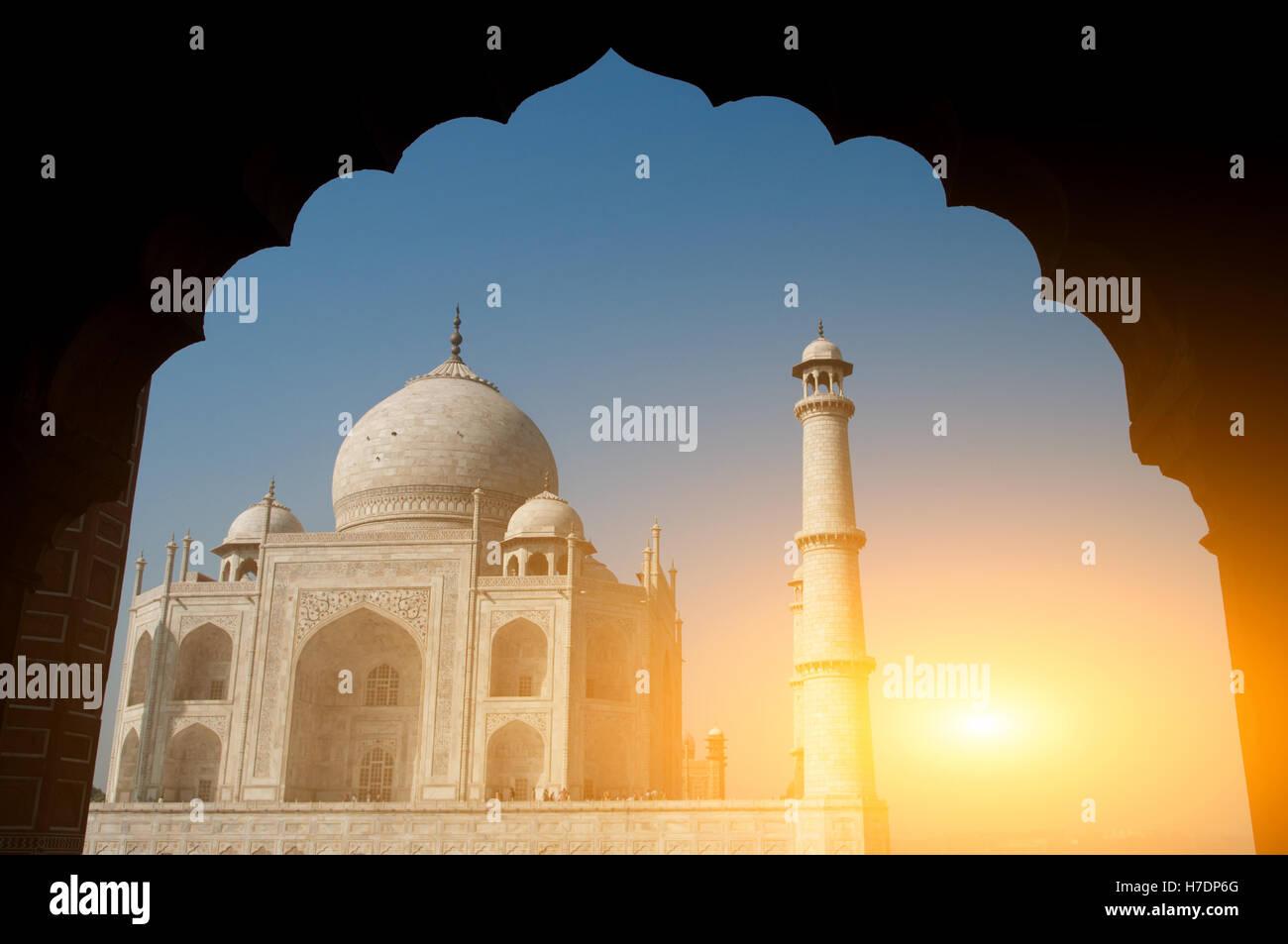Taj Mahal archway view - Stock Image