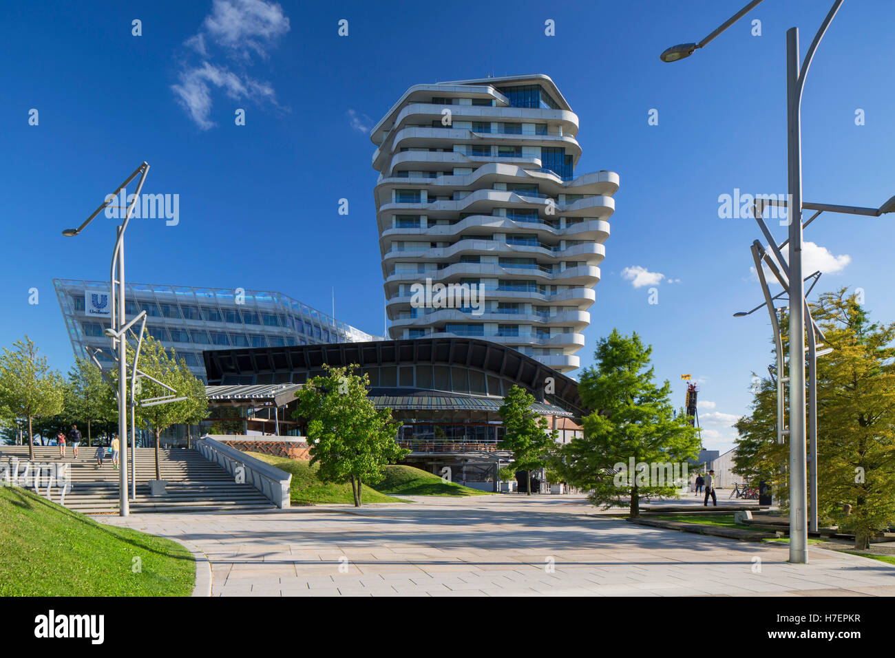 Marco Polo Residential Tower and Unilever building on Marco Polo Terrace in HafenCity, Hamburg, Germany - Stock Image