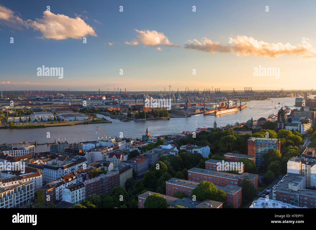 View of harbour and Elbe River, Hamburg, Germany - Stock Image