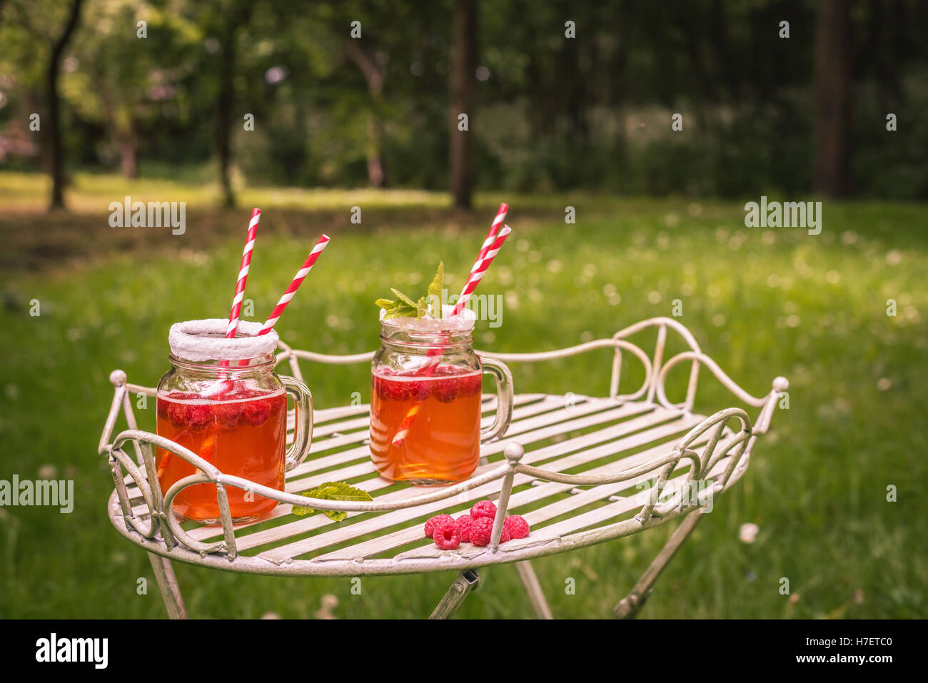 Summer drinks outdoor with vintage tone - plenty of room for copy space - Stock Image