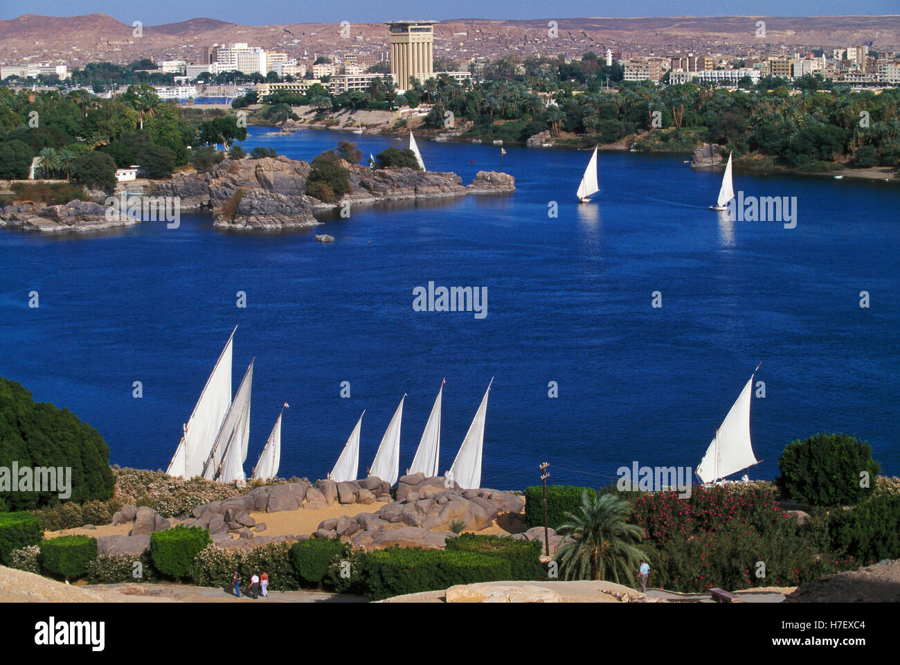 Feluccas on River Nile at Aswan, Egypt Stock Photo