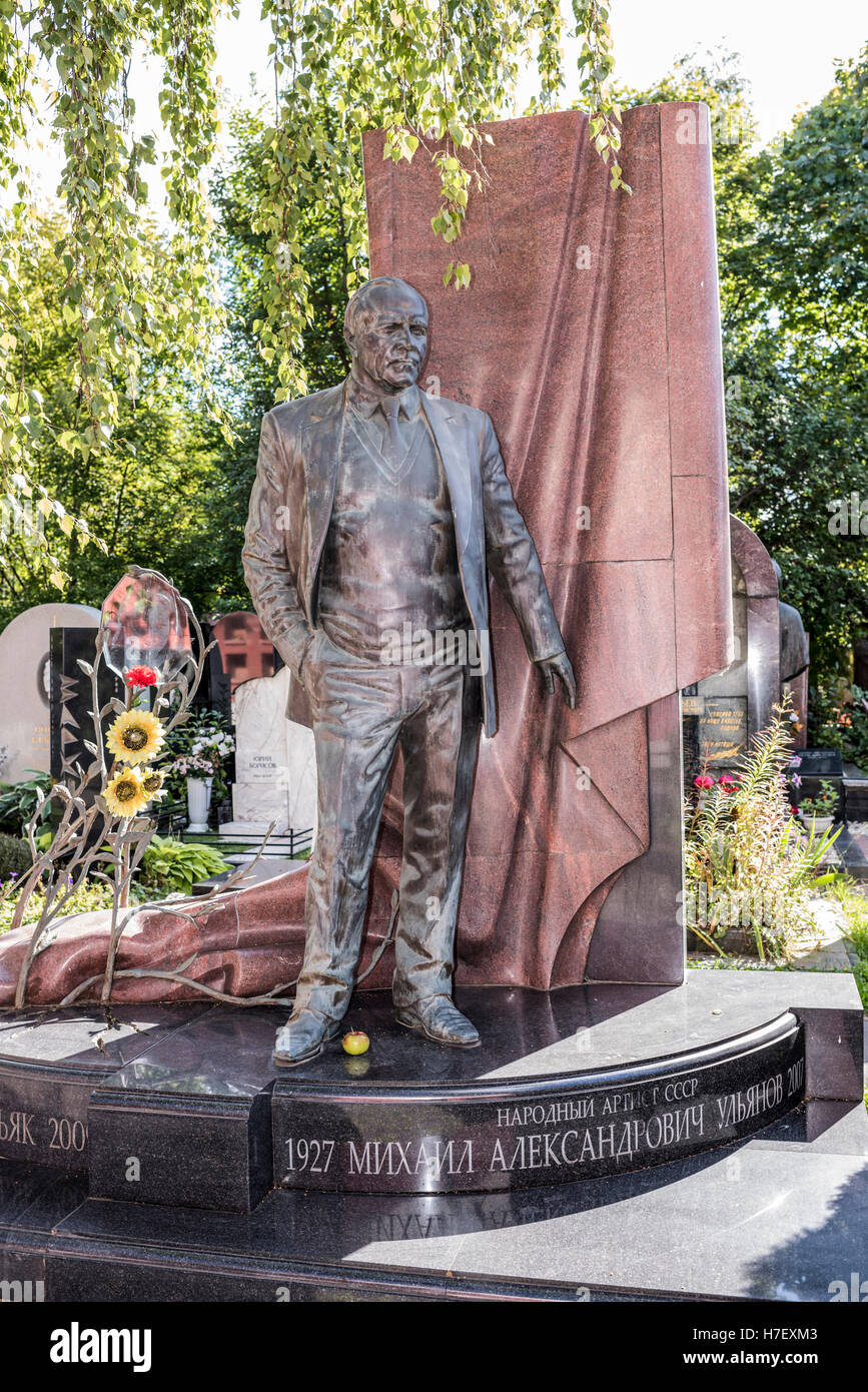Moscow, Russia -September 10,2016: Novodevichy Cemetery. Grave actor Mikhail Ulyanov - Stock Image