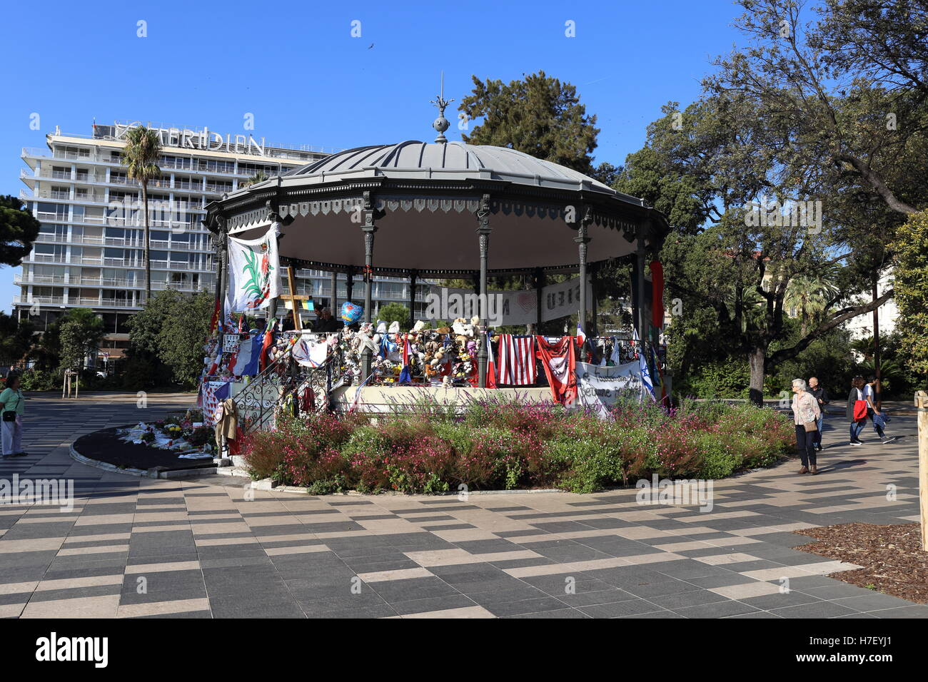 Bandstand in the center of Nice, France, which is now a memorial to the innocent victims of the Bastille Day atrocity. - Stock Image