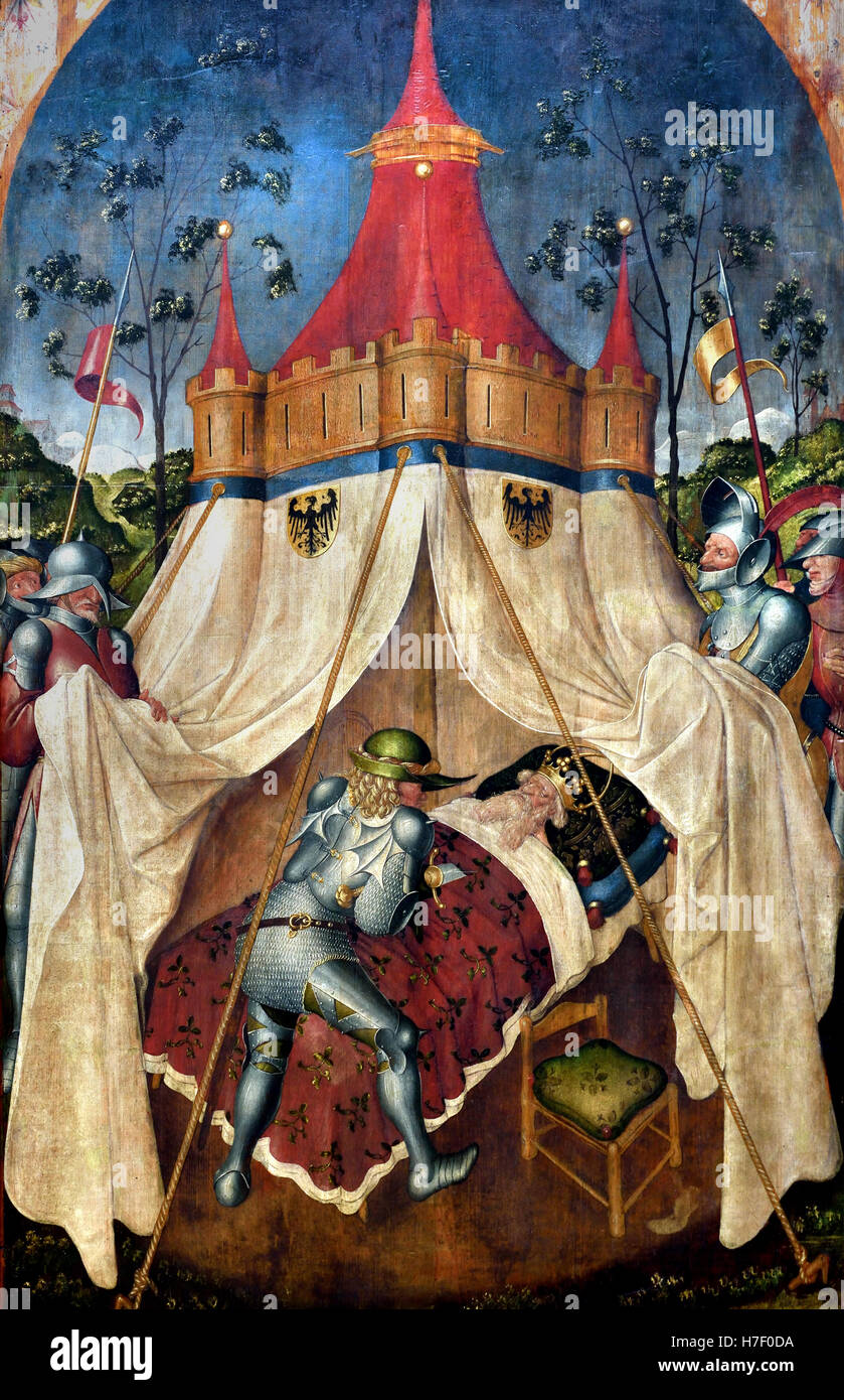 The Assassination of the Moabite King Eglon by Ehud Gabriel Angler 1404 in Monheim (Swabia) 1483 Munich painter - Stock Image