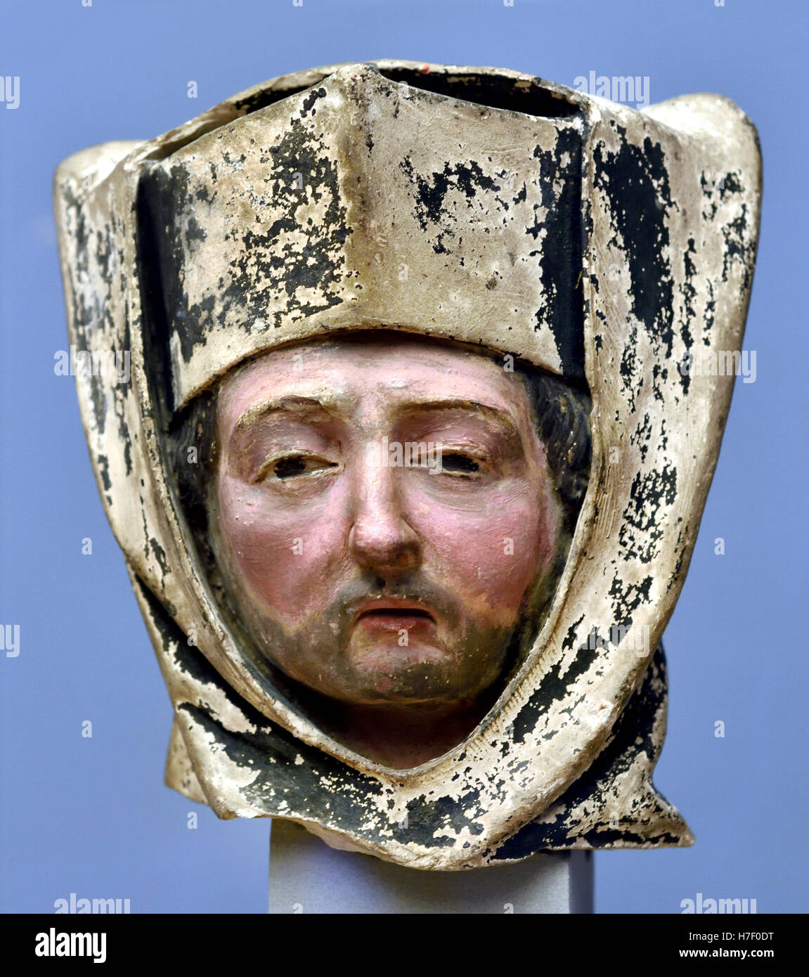 Head of a Clergyman 1450 ((Burnt clay, old version) France French Stock Photo