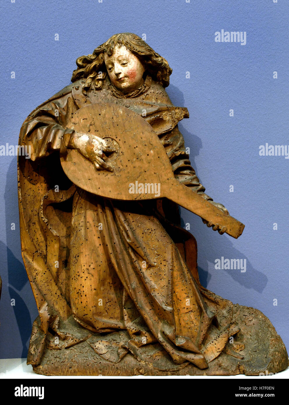 Angels Playing Viola and Lute 1490 sculpture  Middle Ages  Oberrhein - Upper Rhine German Germany Stock Photo