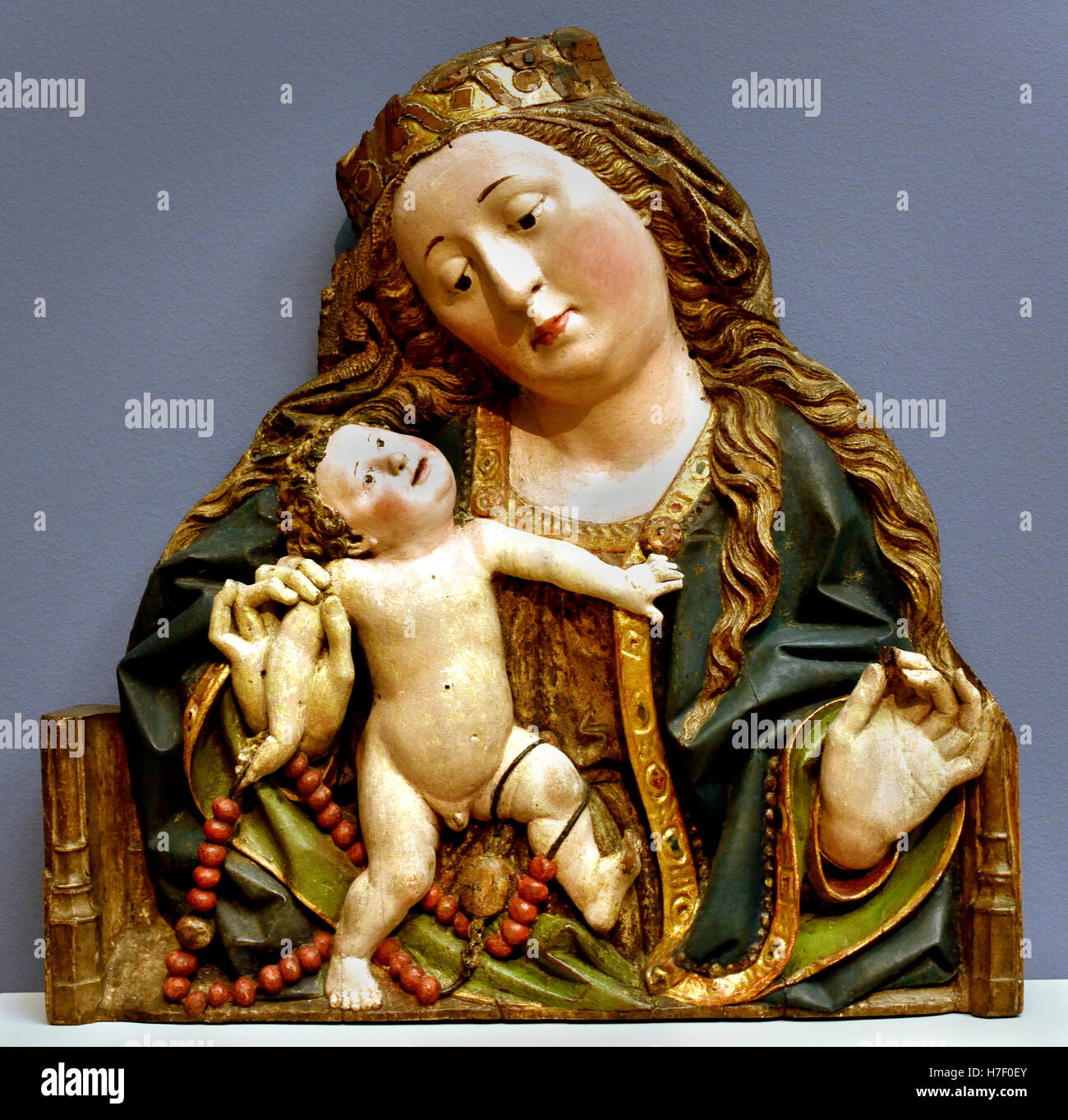 Virgin and Child1480 sculpture  Middle Ages  Oberrhein - Upper Rhine German Germany - Stock Image