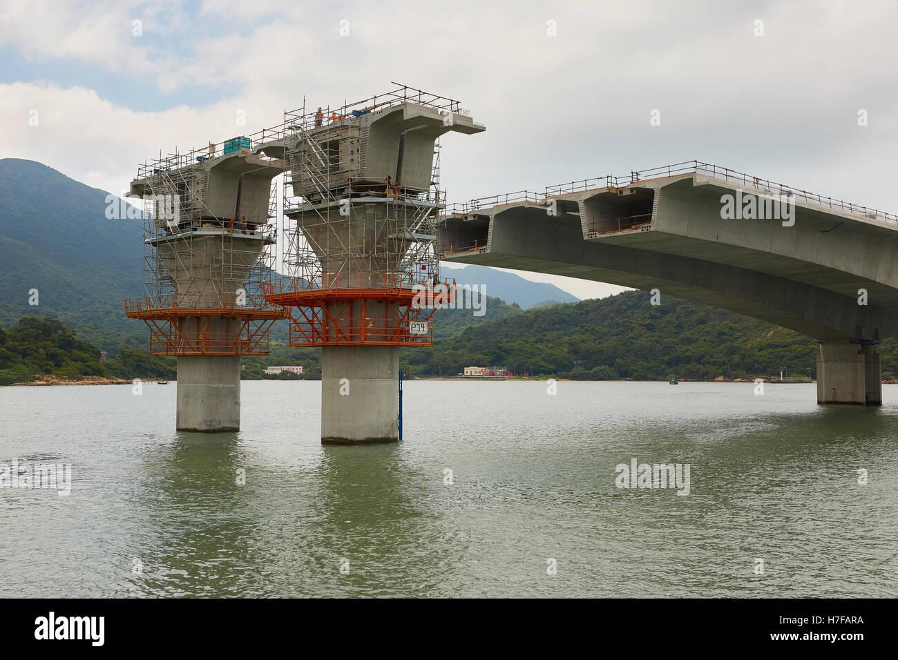 The Hong Kong-Zhuhai-Macau Bridge Construction North of Lantau Island, Hong Kong. - Stock Image