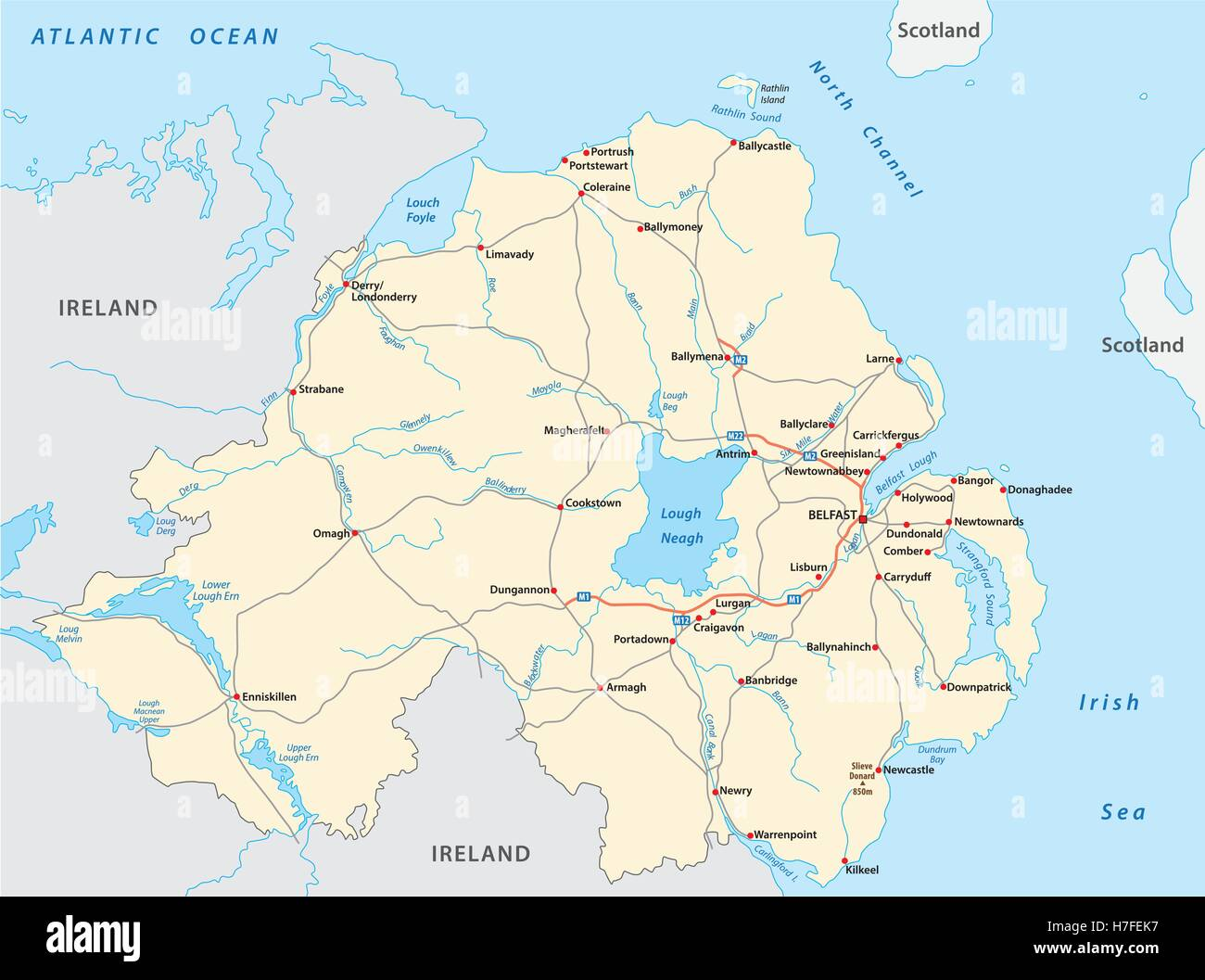 Detailed Map Of Ireland Vector.Detailed Road Map Of The British Province Of Northern Ireland Stock