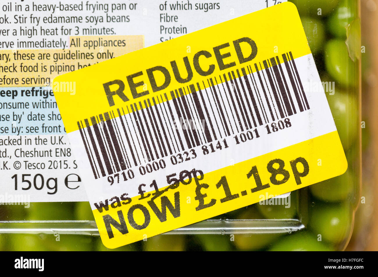 Close up photos of a reduced food label at Tesco - Stock Image