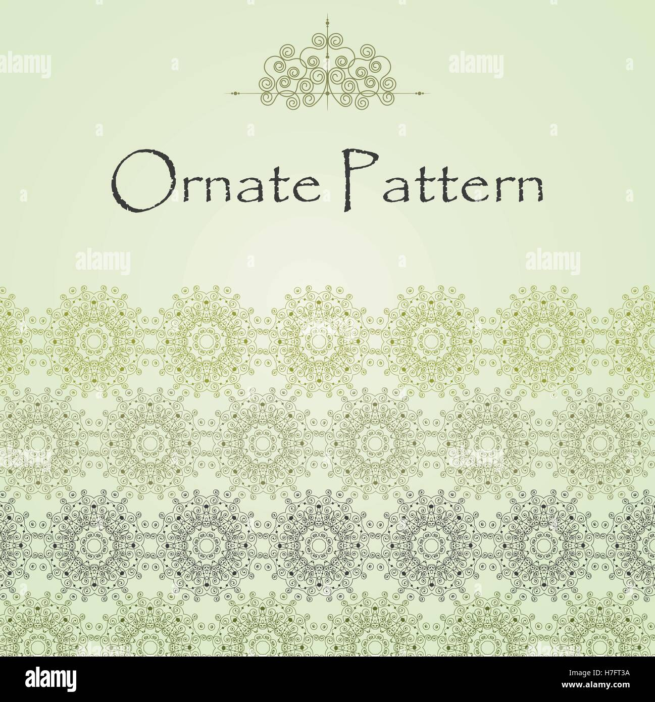 Vector pattern in Eastern style on scroll work background. Ornate element for design. Place for text. Ornamental Stock Vector