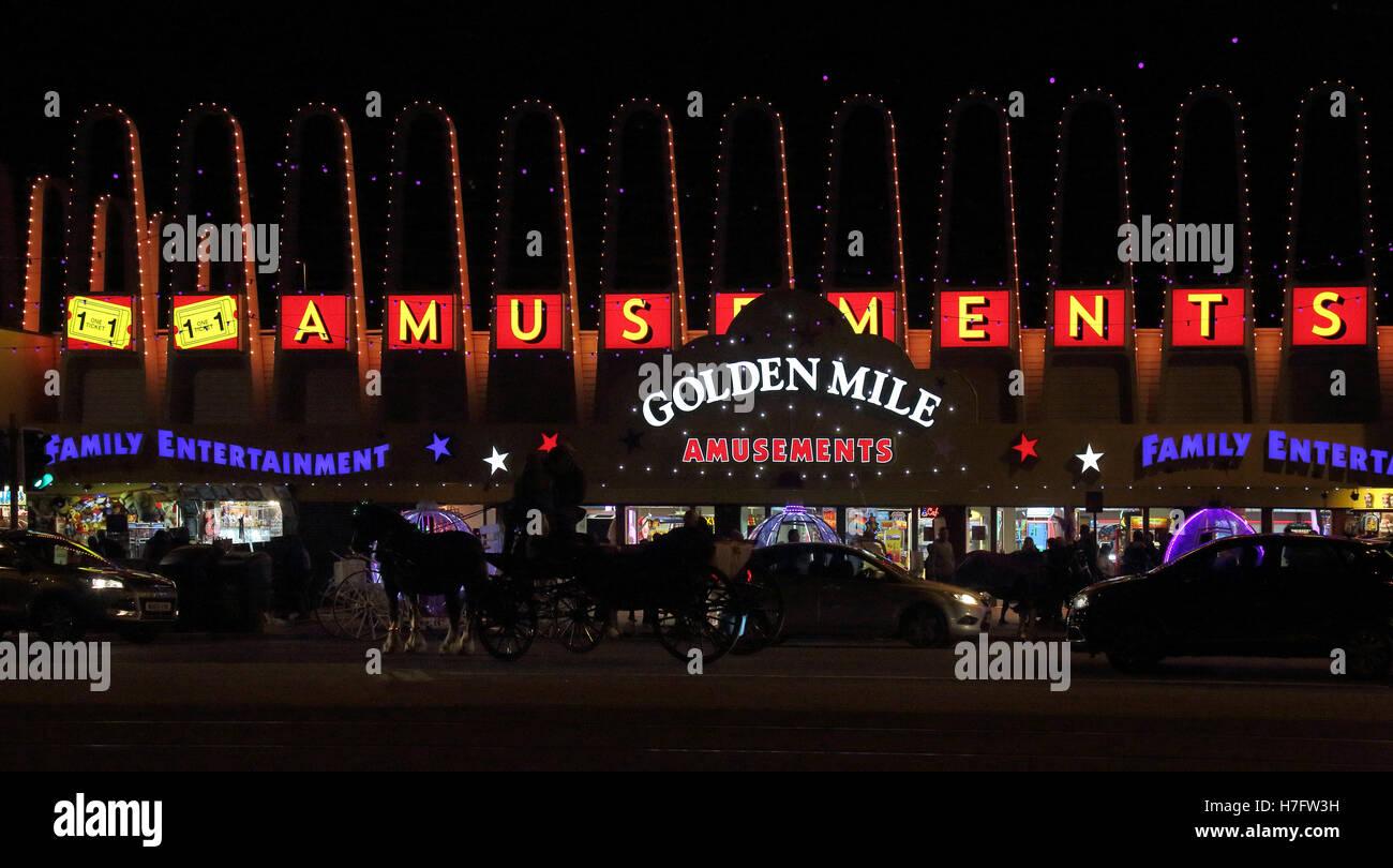 golden mile during blackpool illuminations - Stock Image