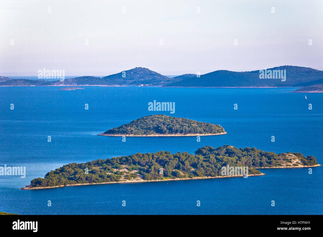Adriatic archipelago of Croatia view, Kornati islands national park, Dalmatia - Stock Image