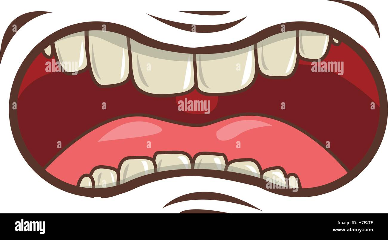 cartoon mouth with teeths with angry expression over white ...