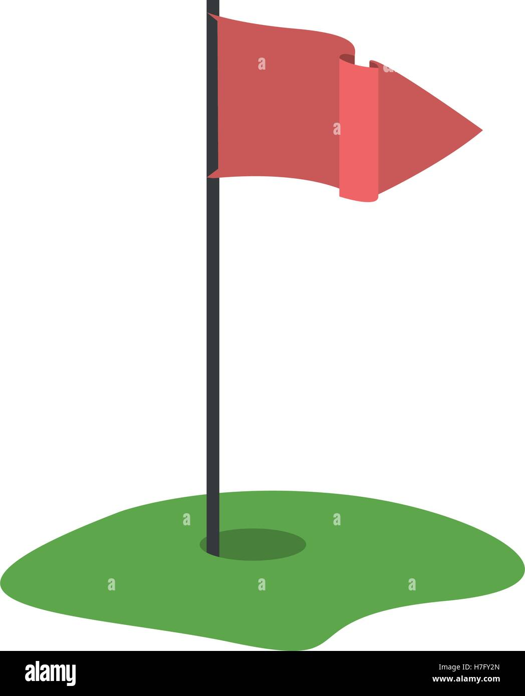 Golf Hole Stock Vector Images Alamy Diagram With Red Flag Icon Over White Background Illustration