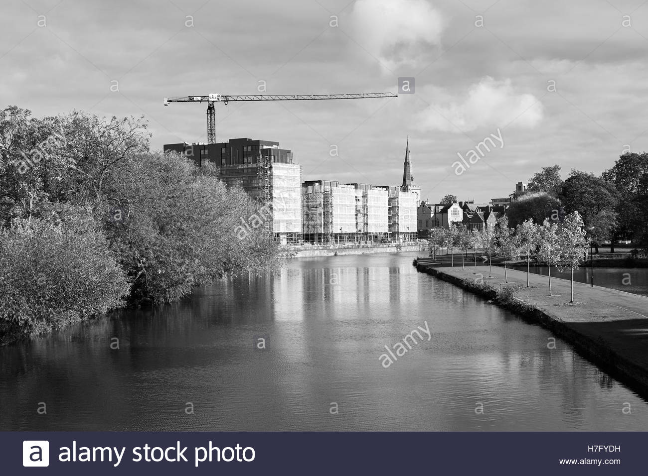 Riverside redevelopment construction works nearing completion along The Embankment, Bedford, England, UK. - Stock Image
