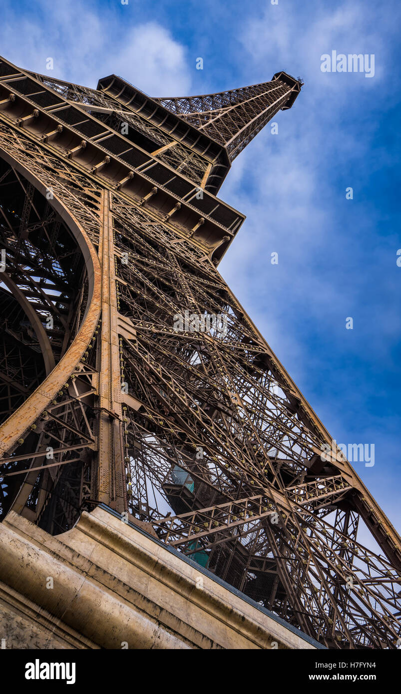 Vertical panoramic close-up of the Eiffel Tower. Champs de Mars, 7th Arrondissement, Paris, France Stock Photo